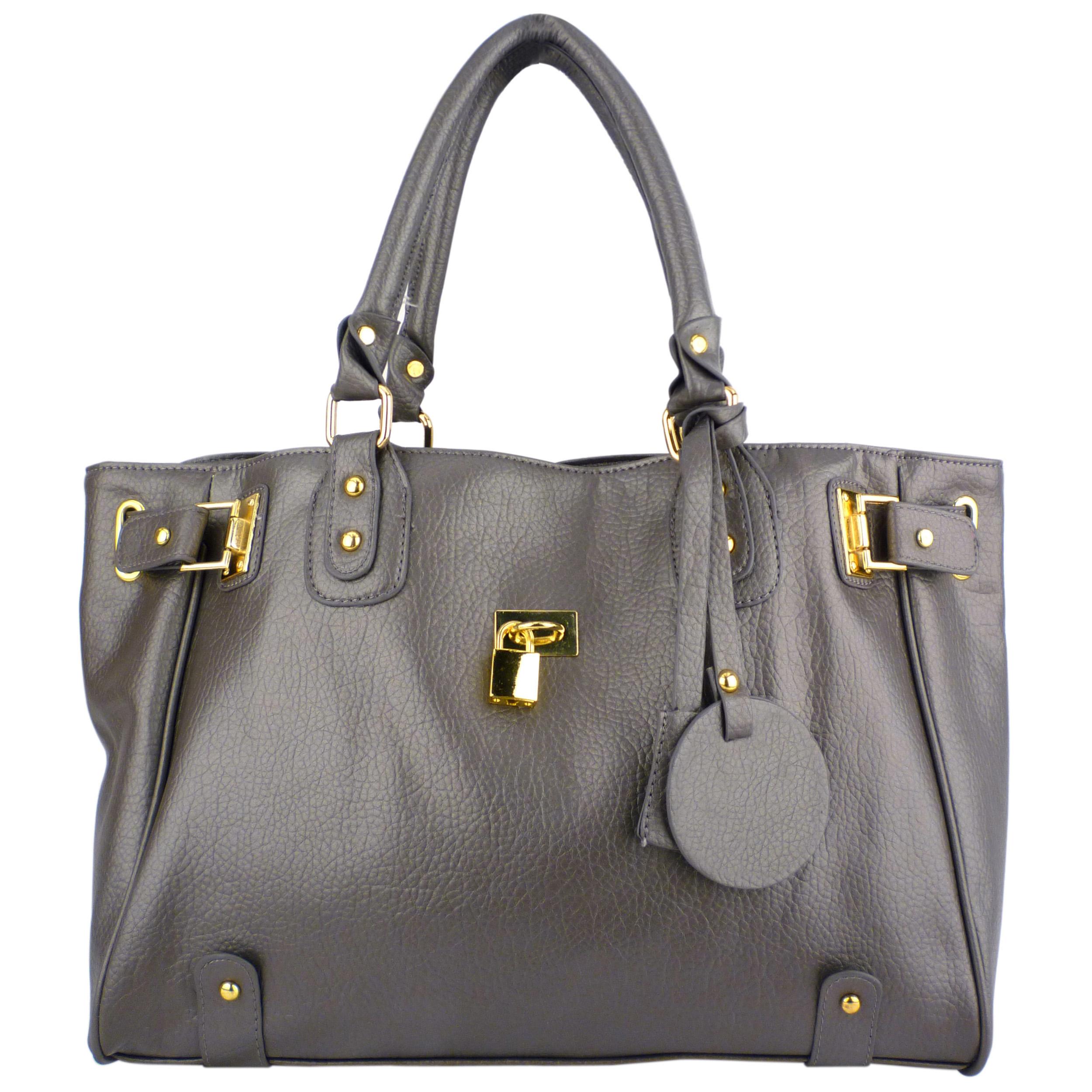 LUCCA Grey Padlock Shopper Purse Front