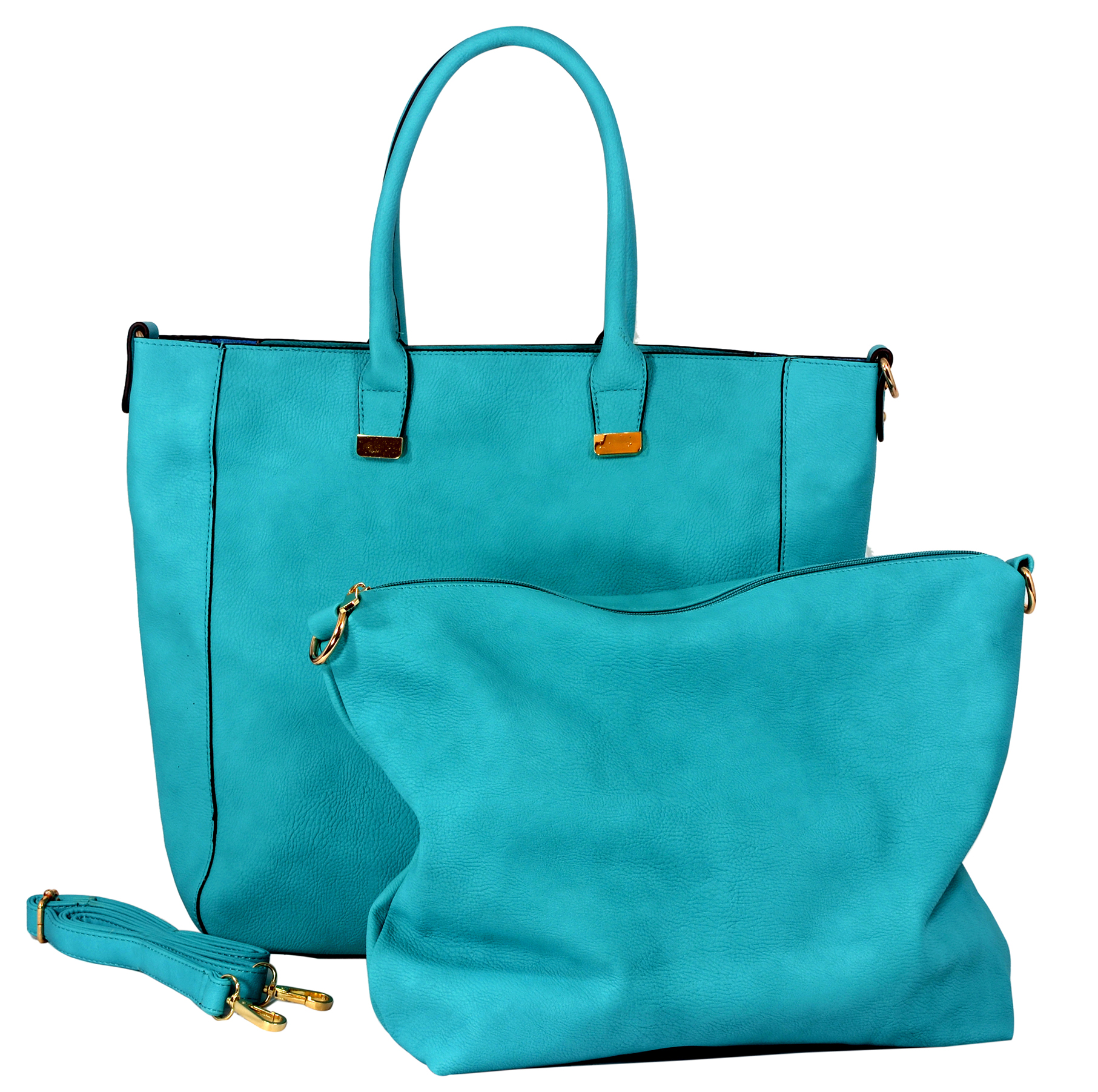 PENELOPE Turquoise Bucket Shopper Tote Purse Main
