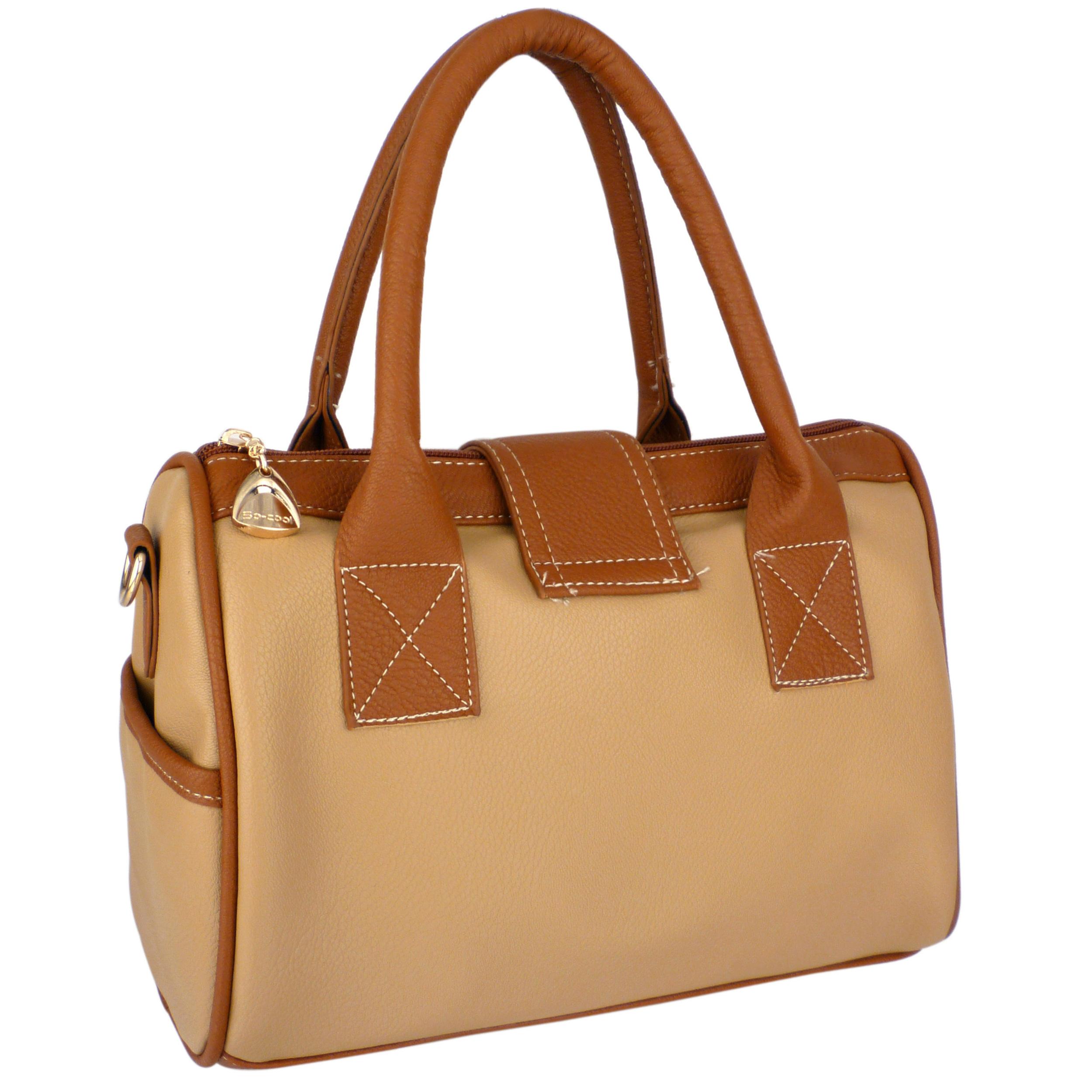 BRADLEY Brown Dual-tone Bowler Style Handbag back