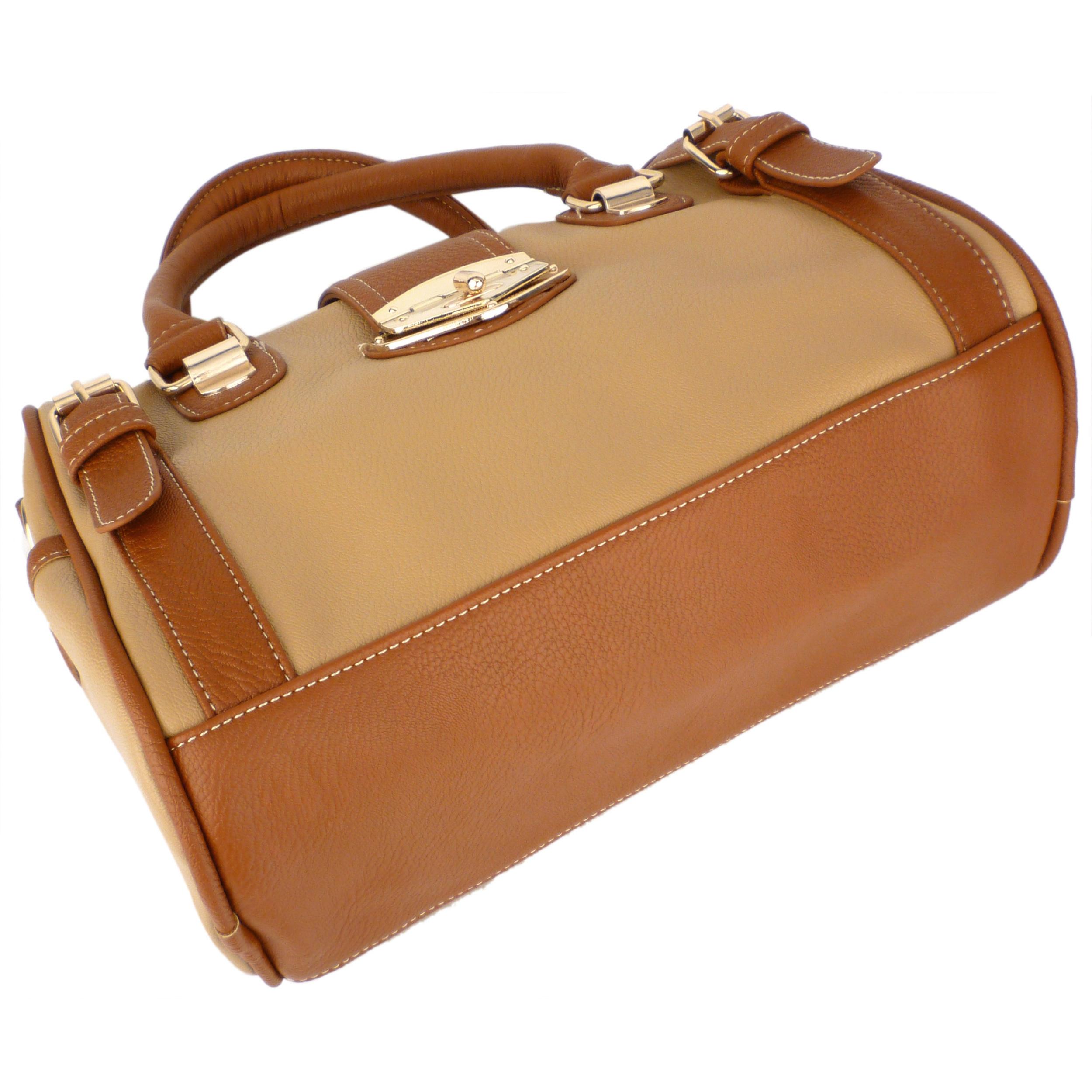 BRADLEY Brown Dual-tone Bowler Style Handbag Bottom