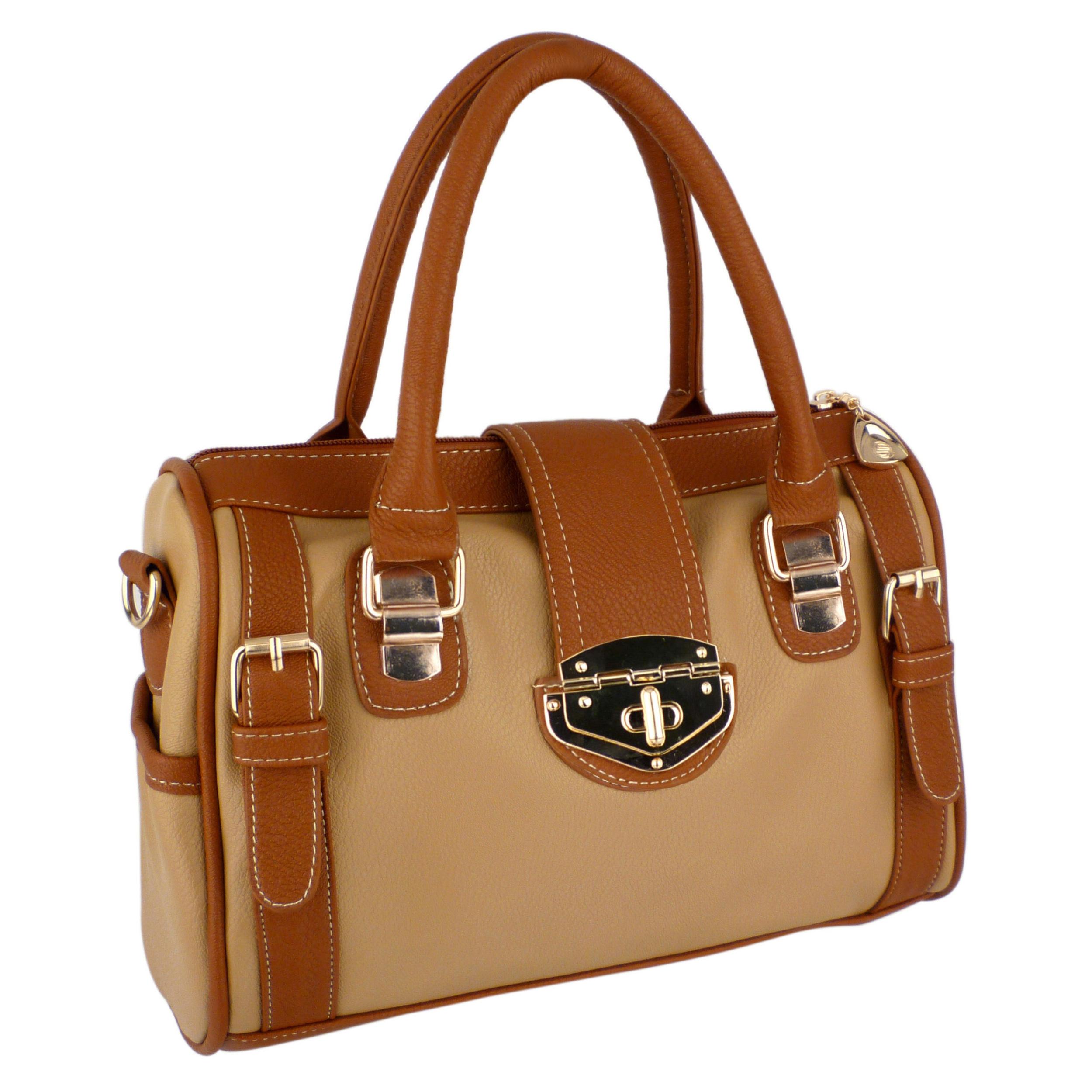 BRADLEY Brown Dual-tone Bowler Style Handbag Main