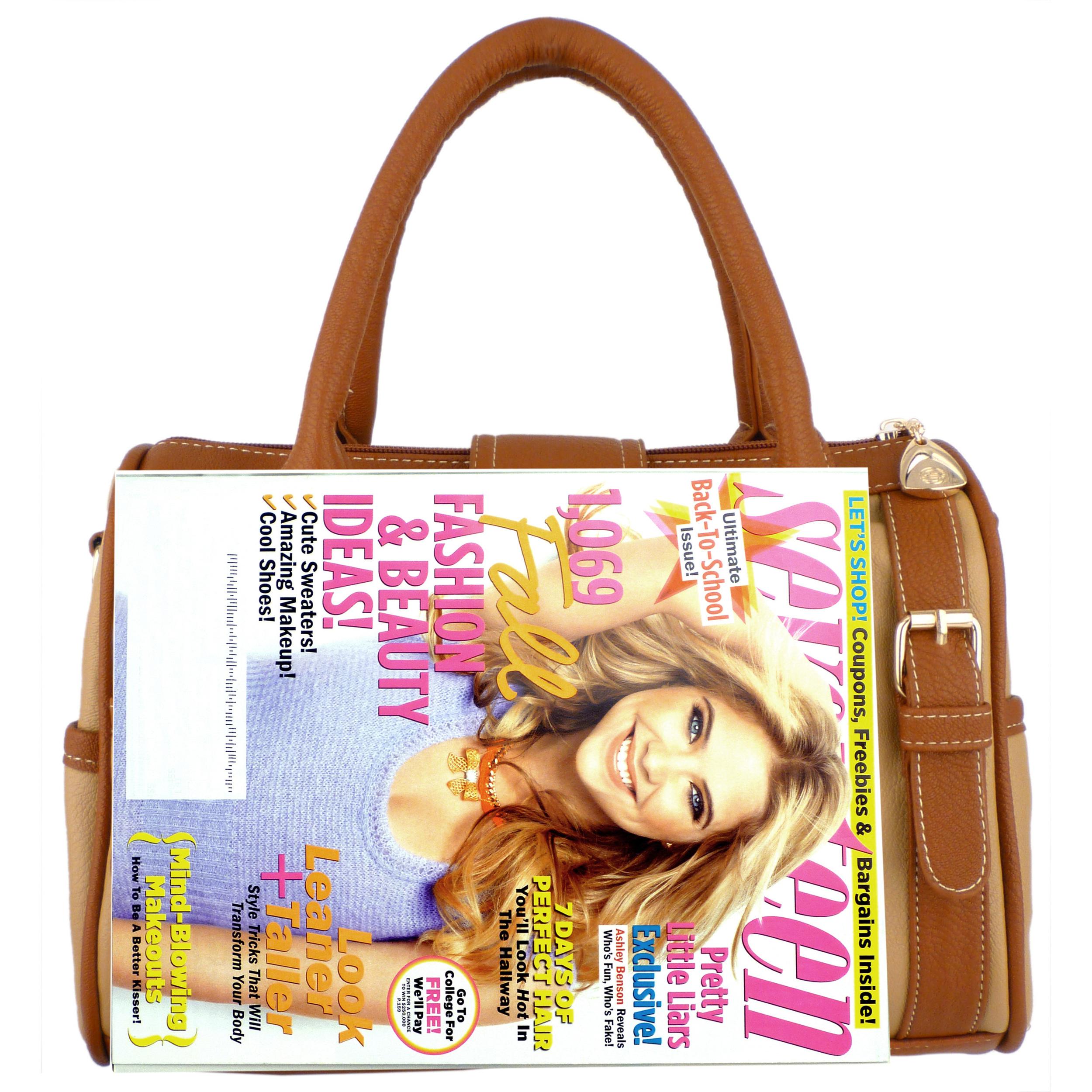 BRADLEY Brown Dual-tone Bowler Style Handbag Size