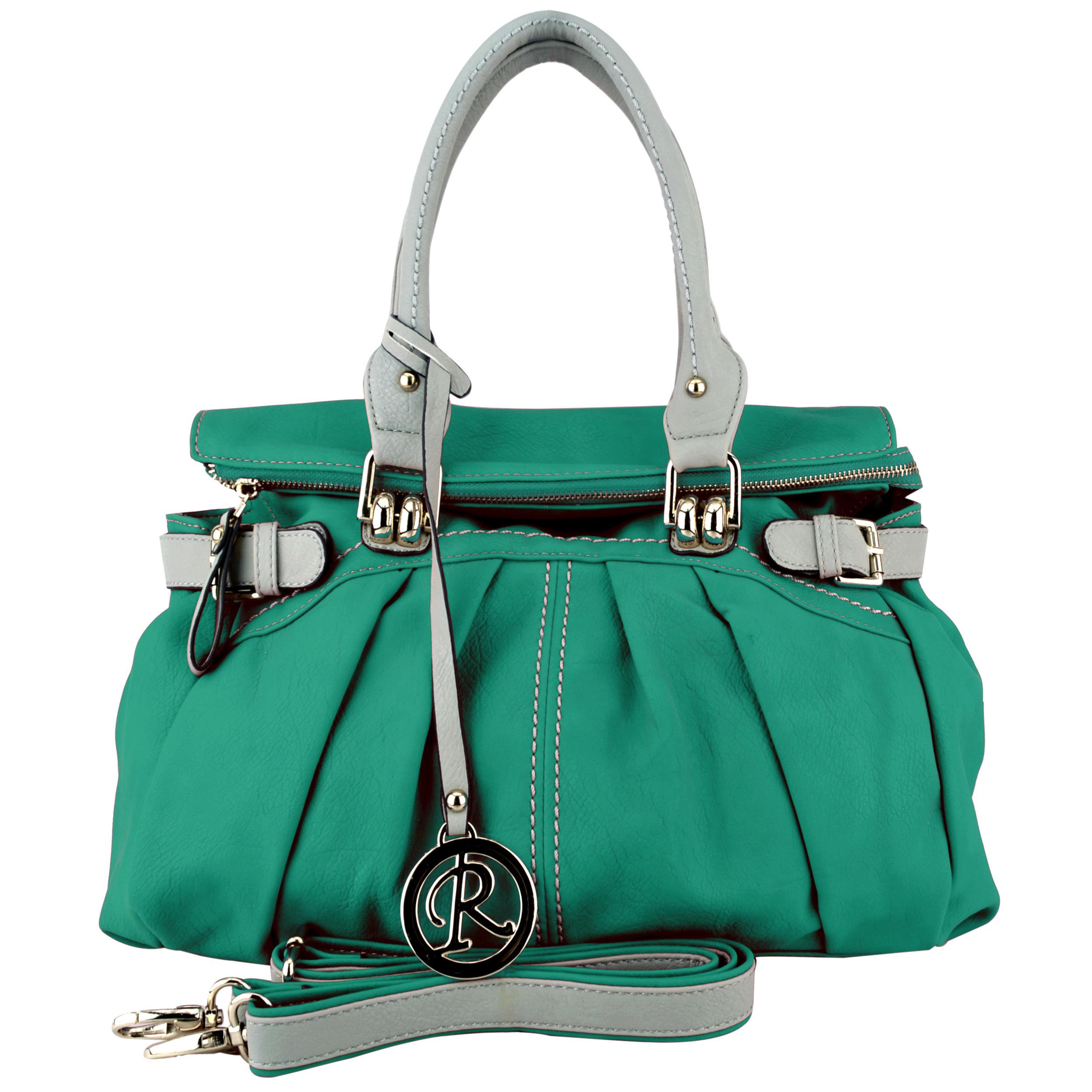 GABBY Teal Shopper Hobo Handbag Front
