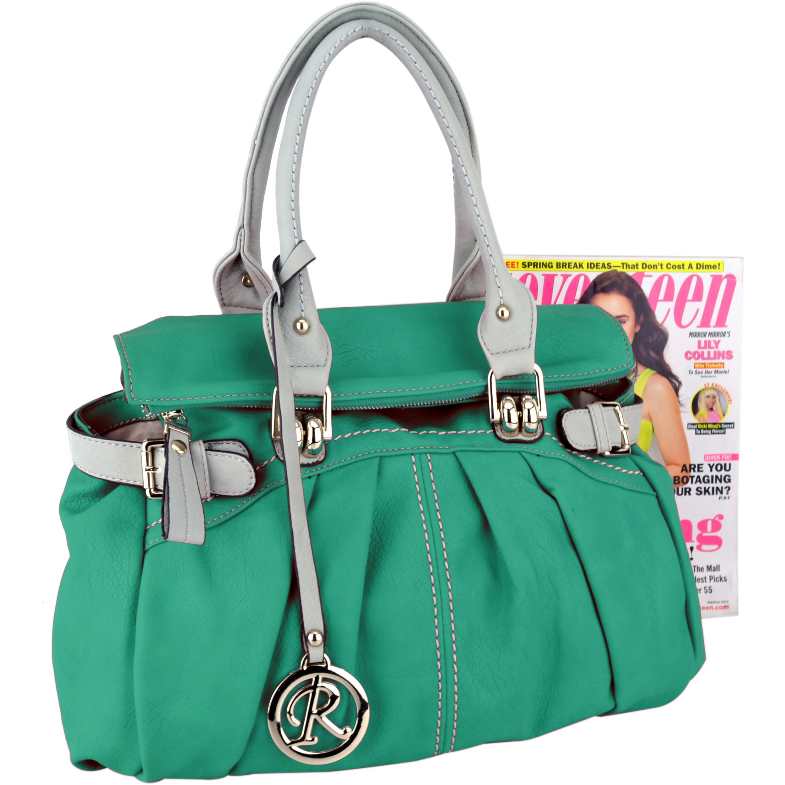 GABBY Teal Shopper Hobo Handbag Size