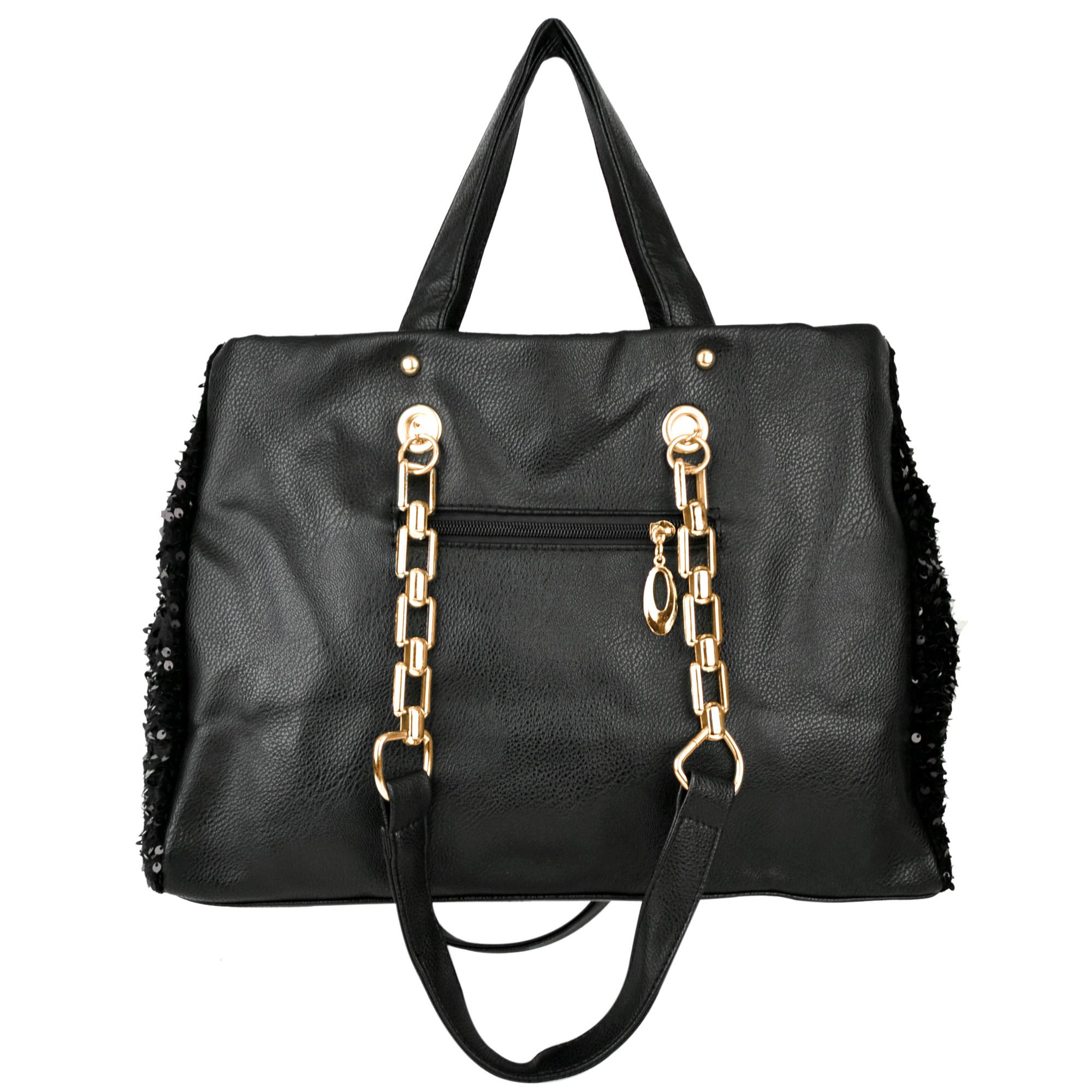 Noelia black sequined handbag back image
