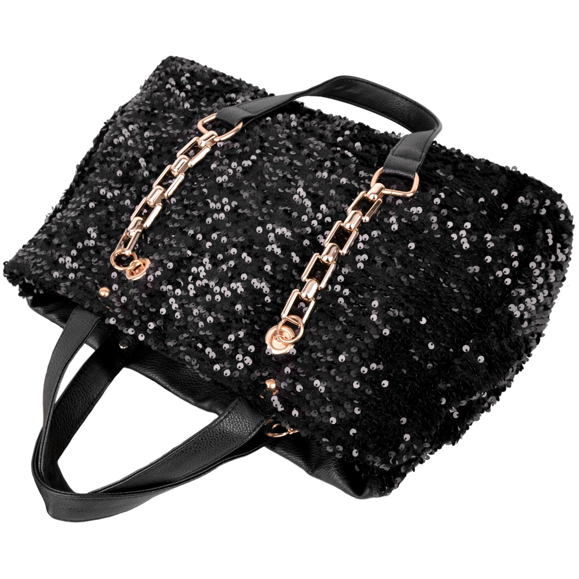 Noelia black sequined handbag top image