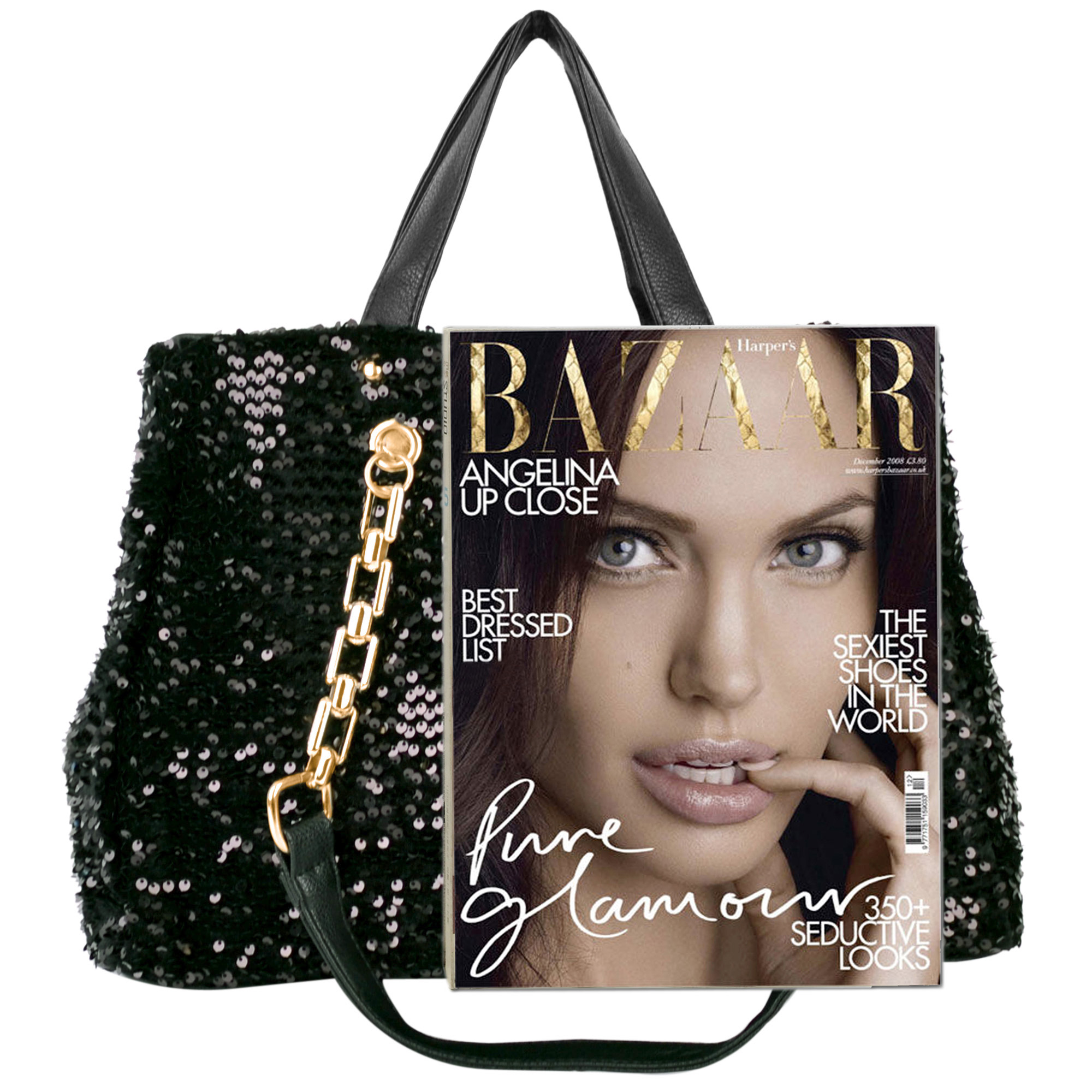 Noelia black sequined handbag size comparison image