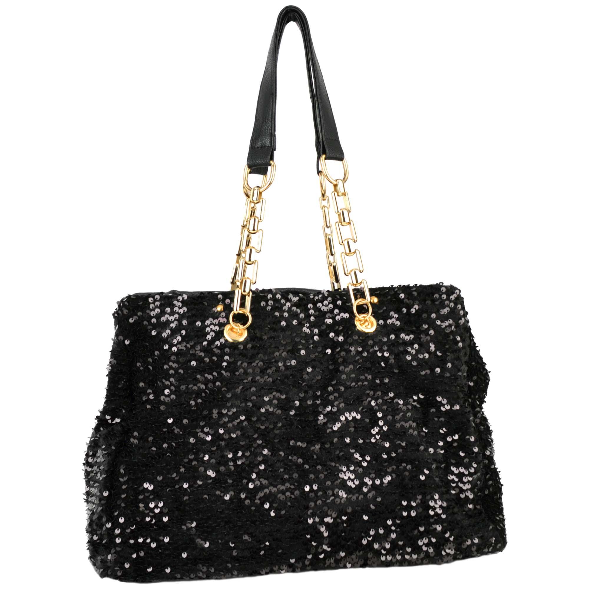 Noelia black sequined handbag front image