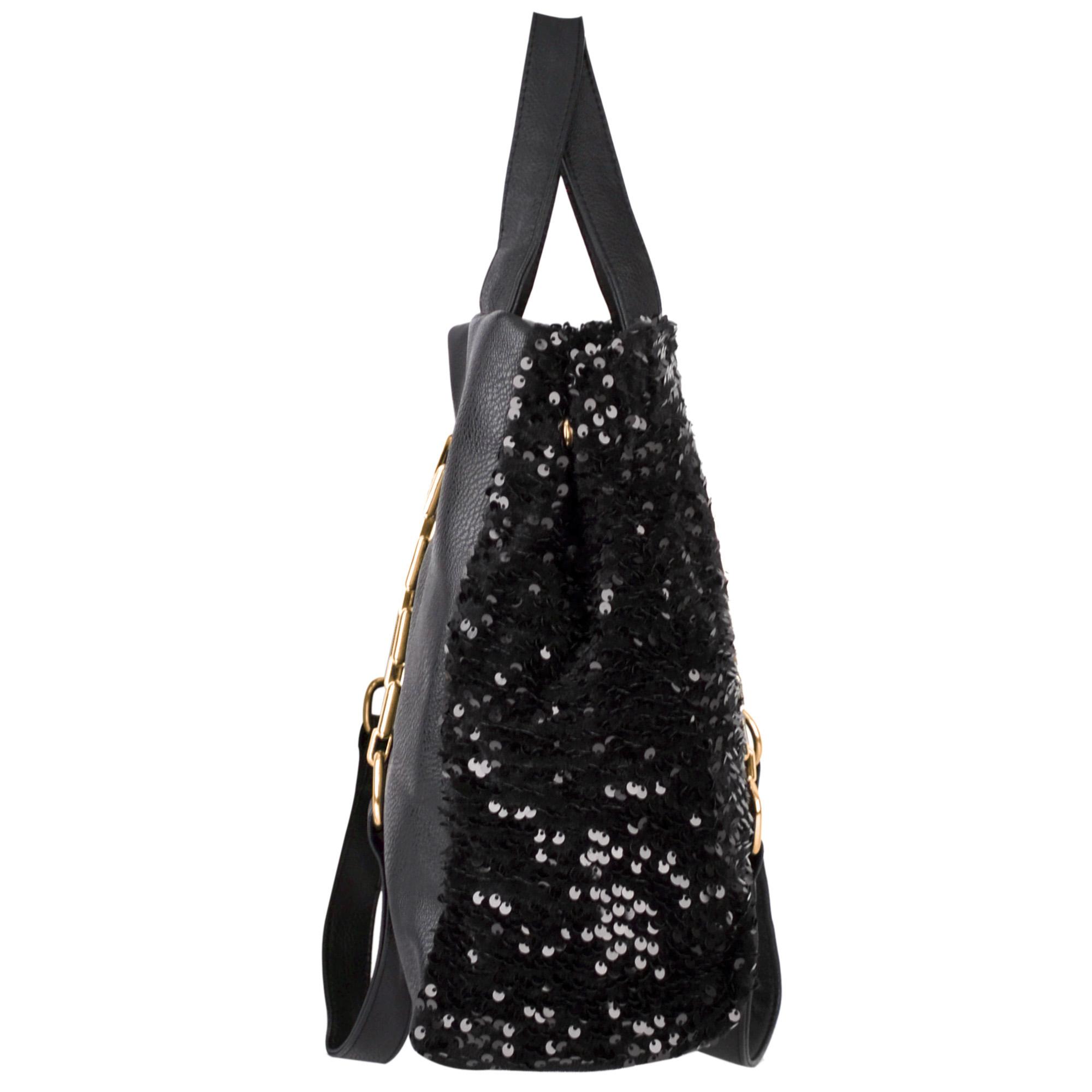 Noelia black sequined handbag side image