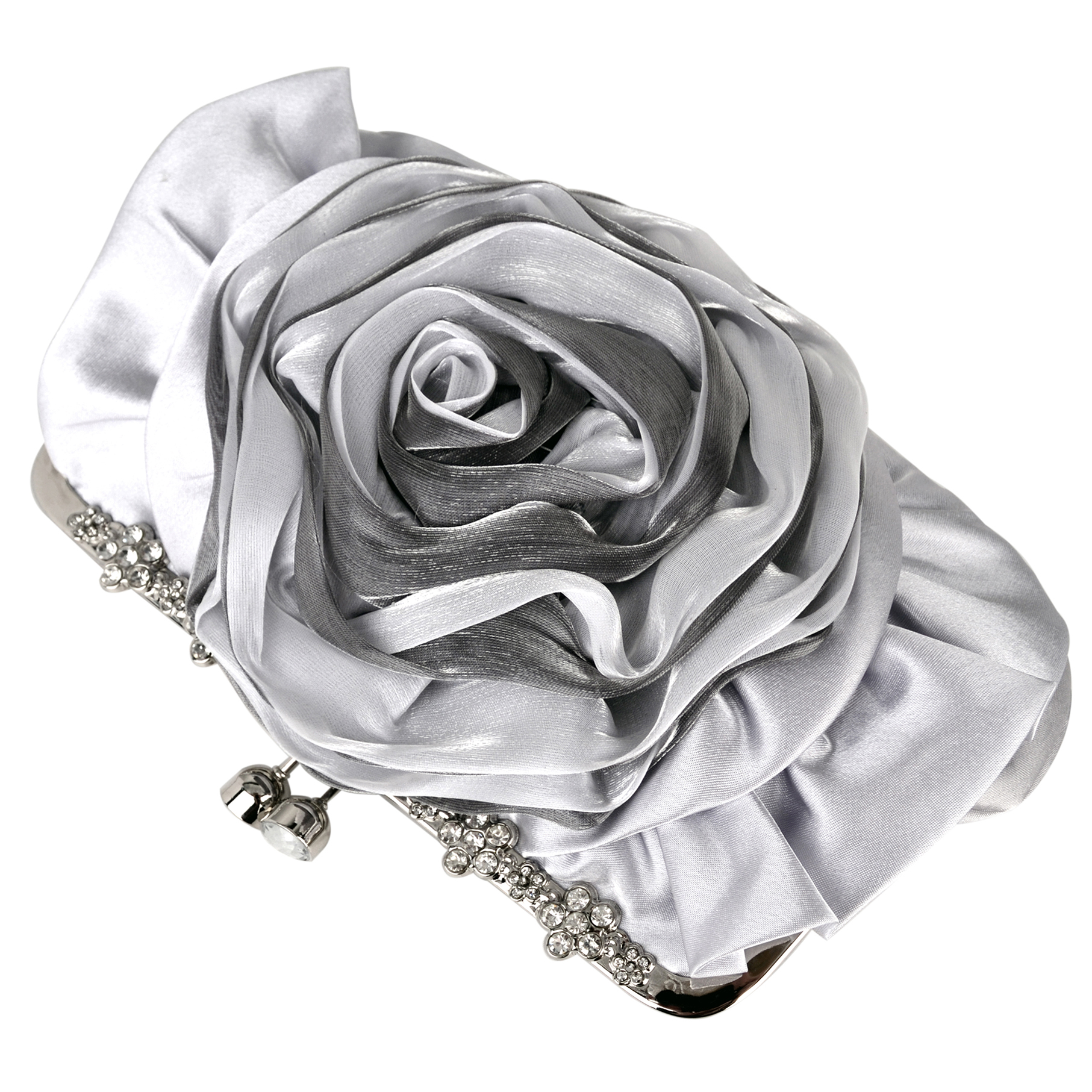 Rose blossom silver evening clutch purse top image