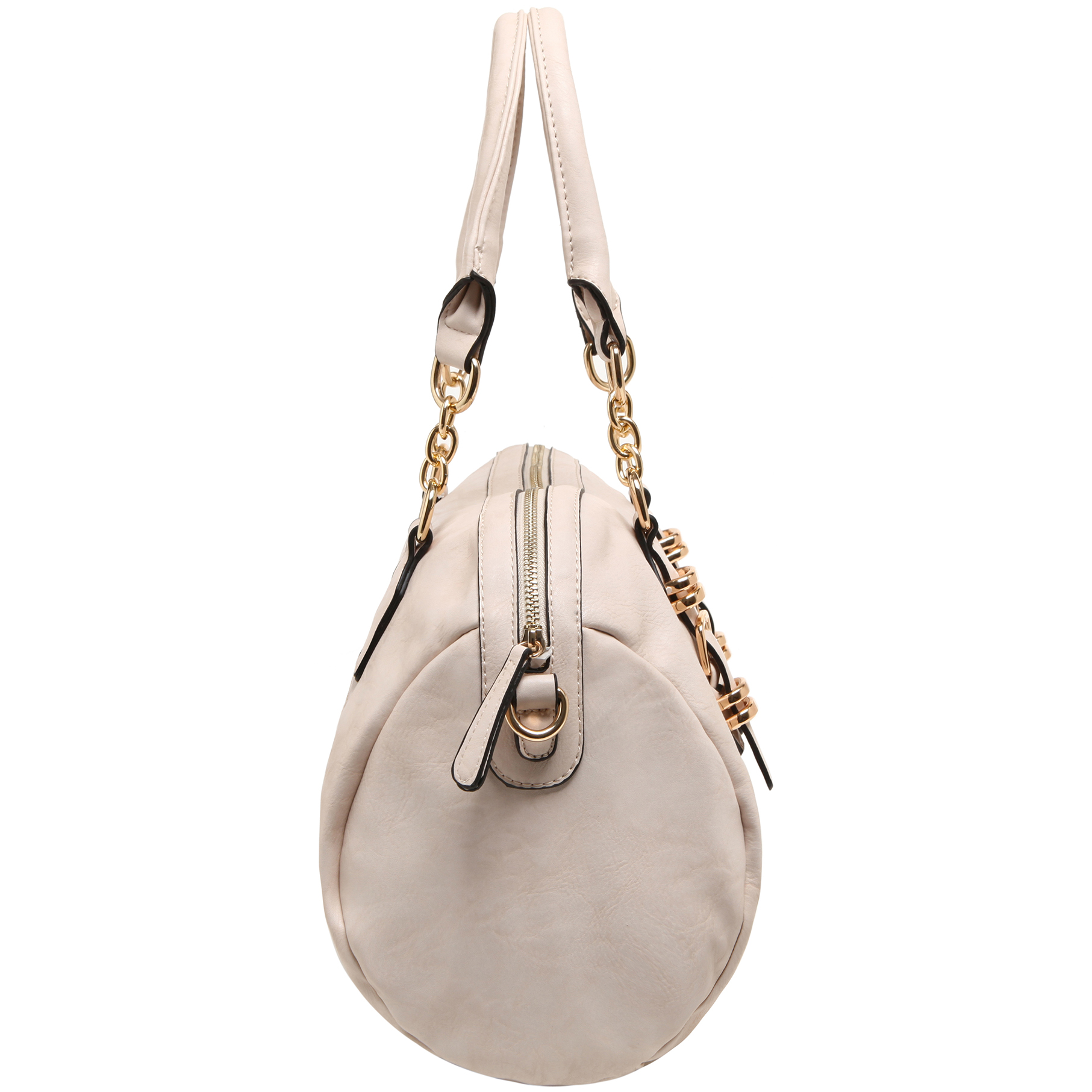 SONIA Beige Barrel Top Handle Tote handbag side image