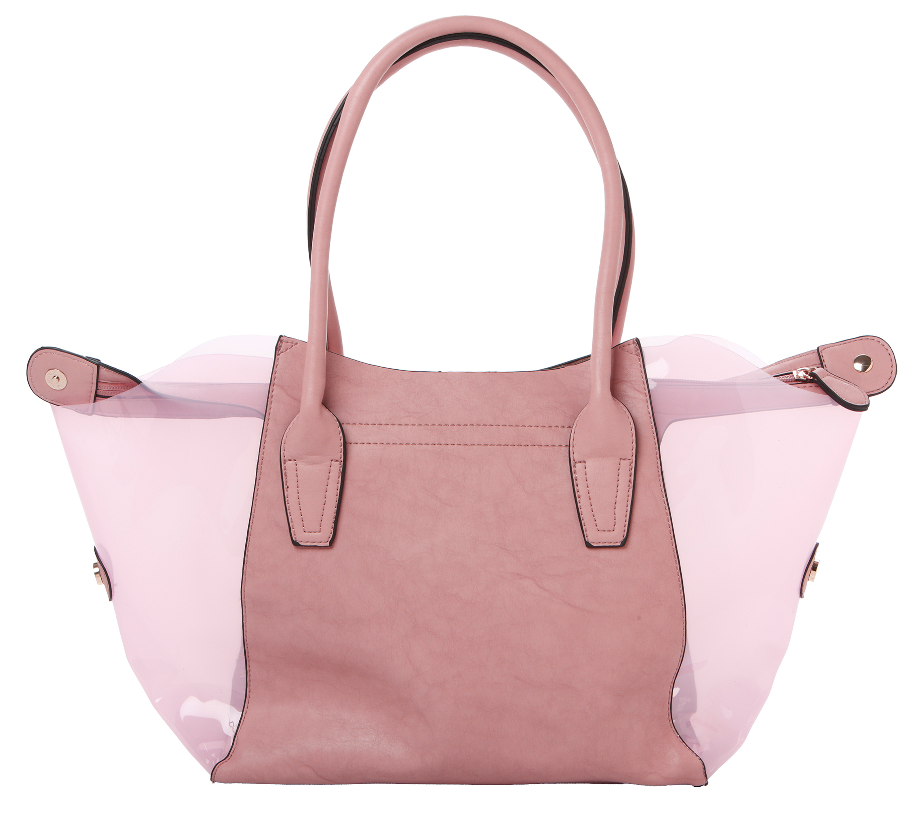 Lara pink 2 in 1 shopper tote back image