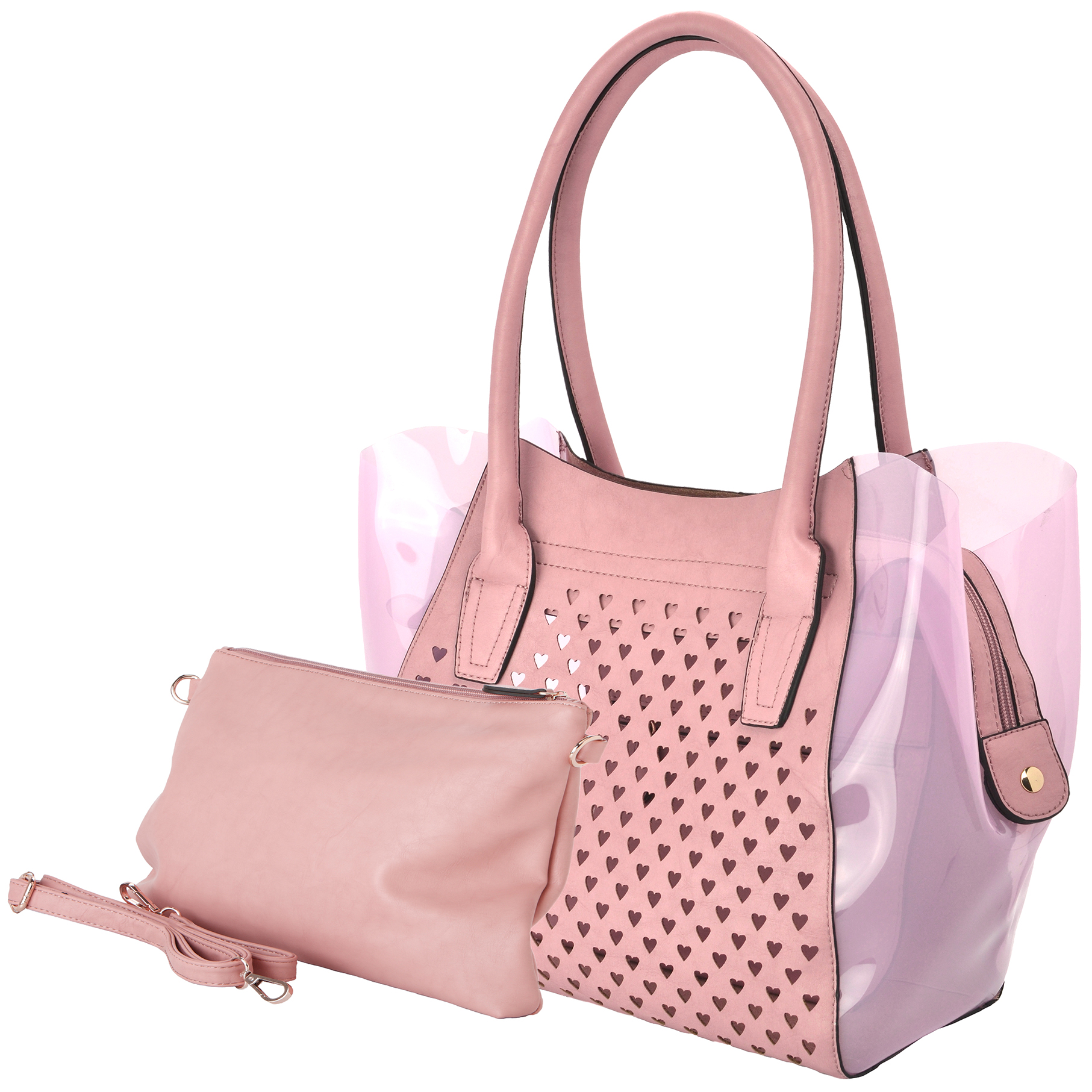 Lara pink 2 in 1 shopper tote main image