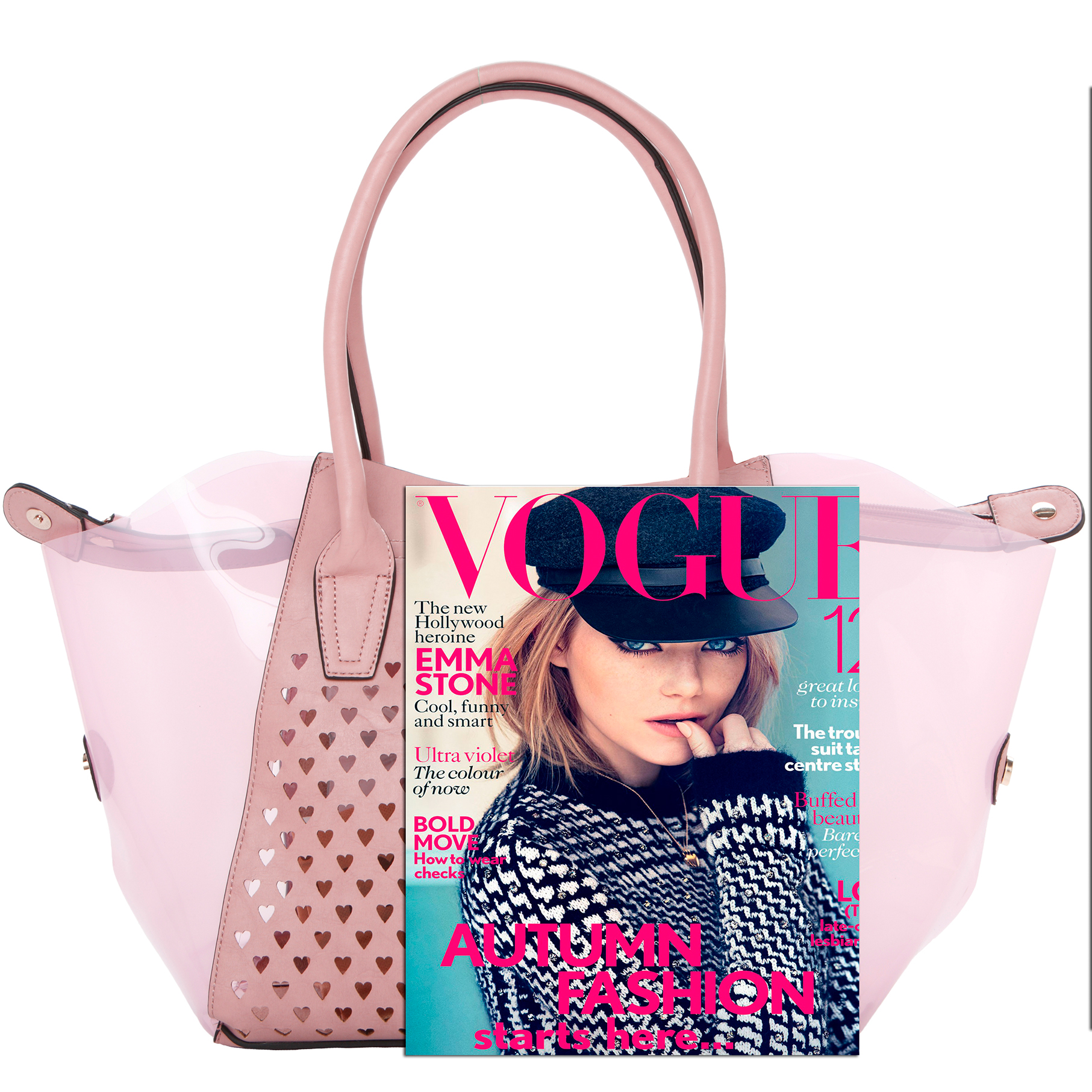 Lara pink 2 in 1 shopper tote size comparison image
