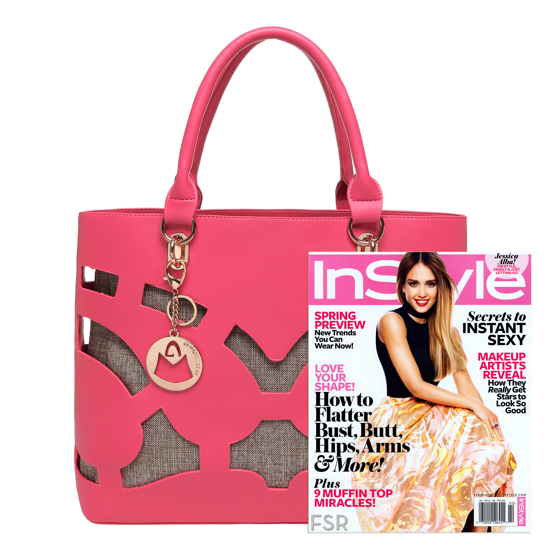 TAYLA Pink Fashion Tote size comparison image