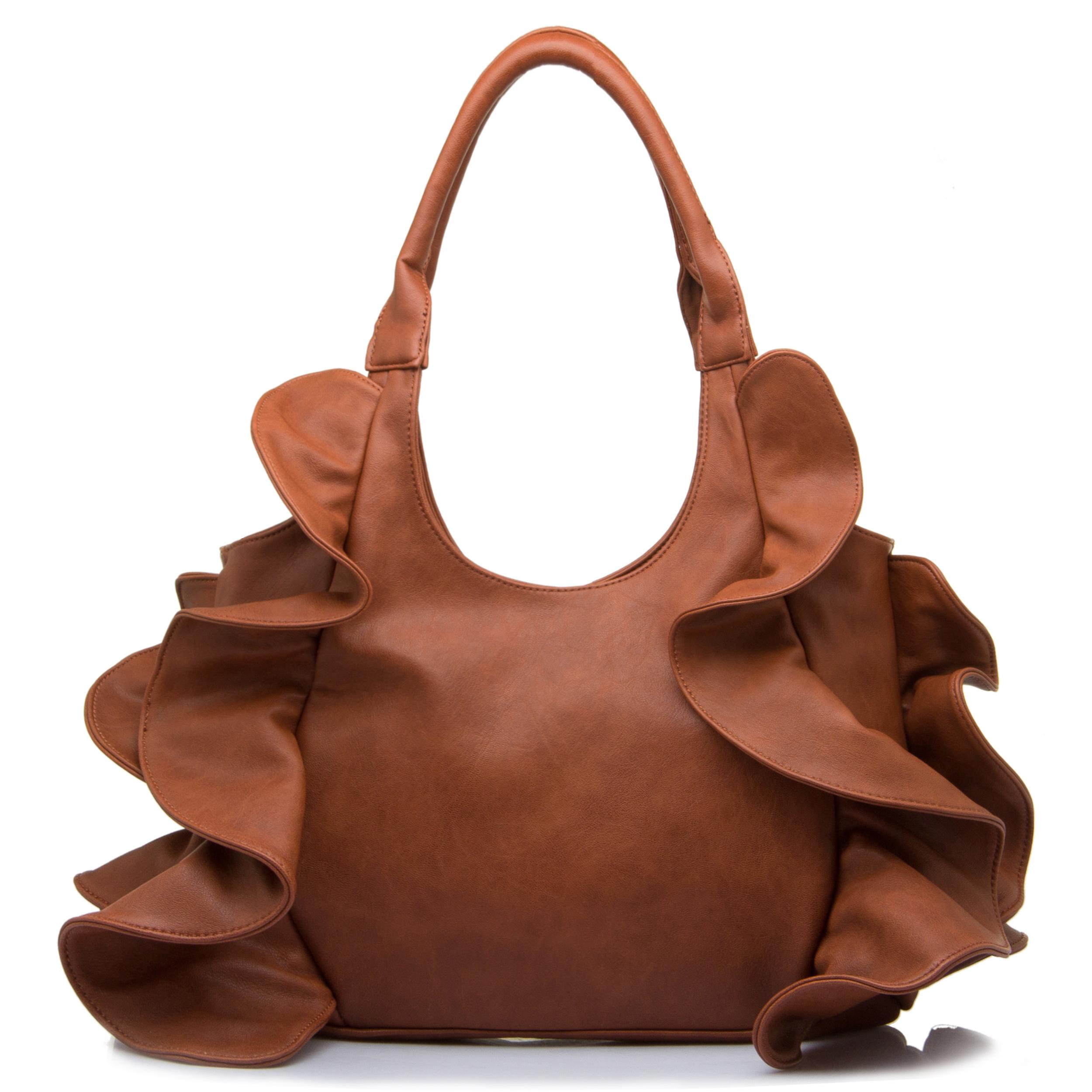 Sora flirty ruffled hobo handbag front shot