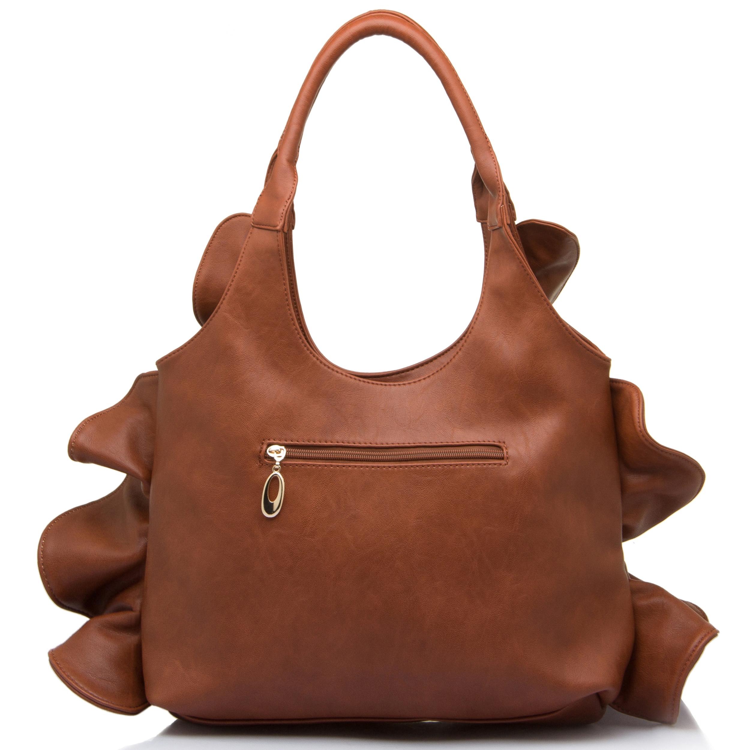 Sora flirty ruffled hobo handbag back shot