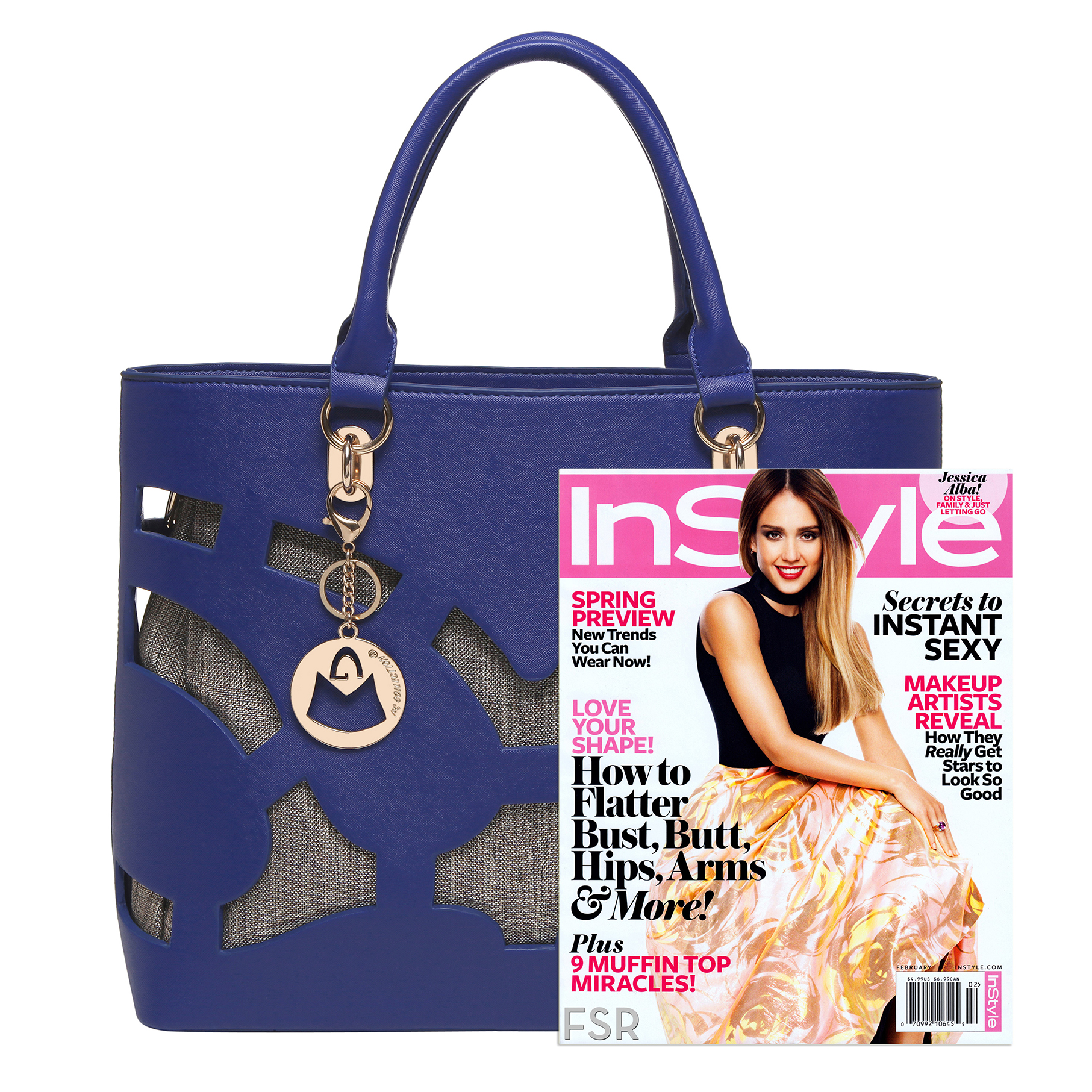 Tayla Blue 2 in 1 fashion cut out tote handbag size comparison image