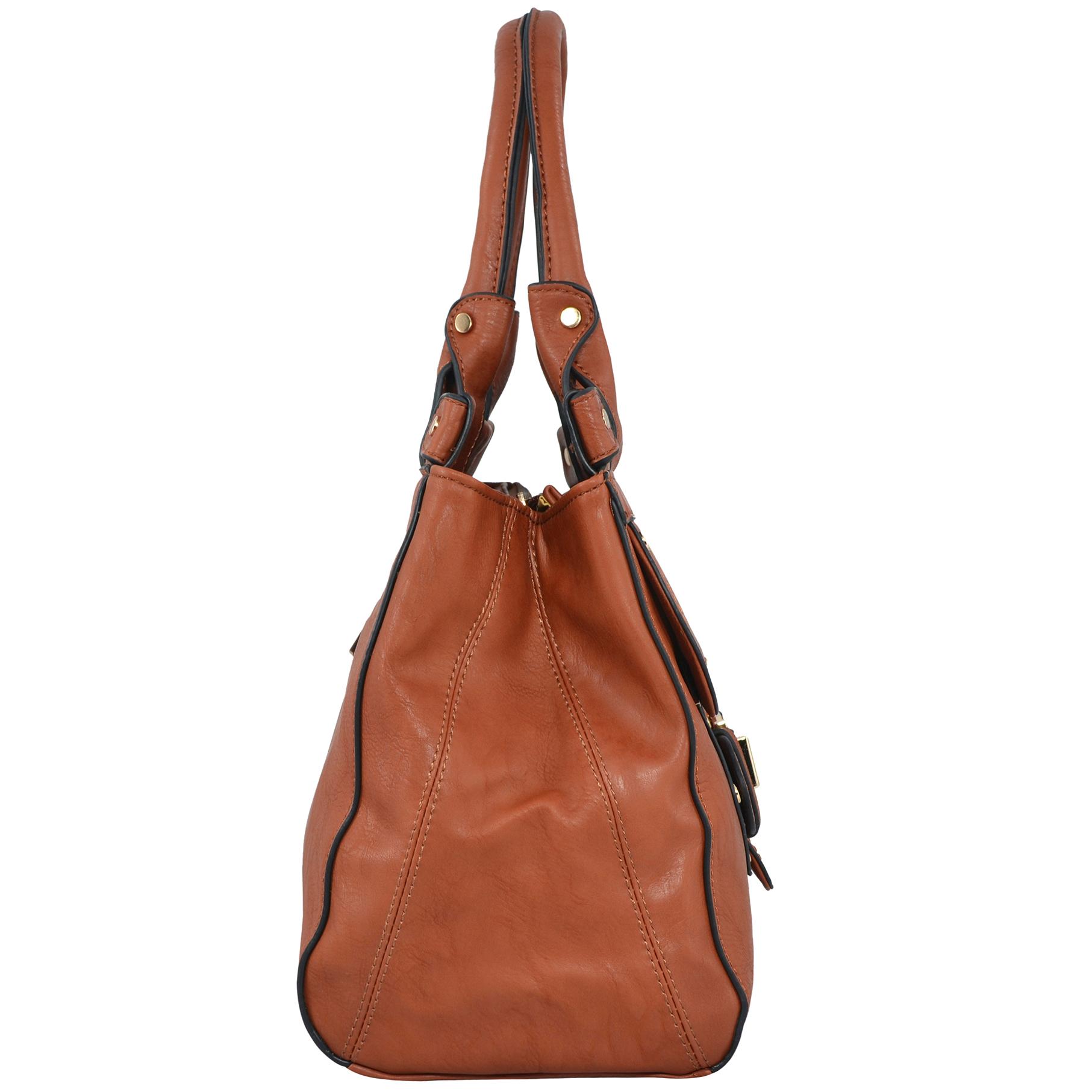 wendy brown satchel style shoulder bag side image