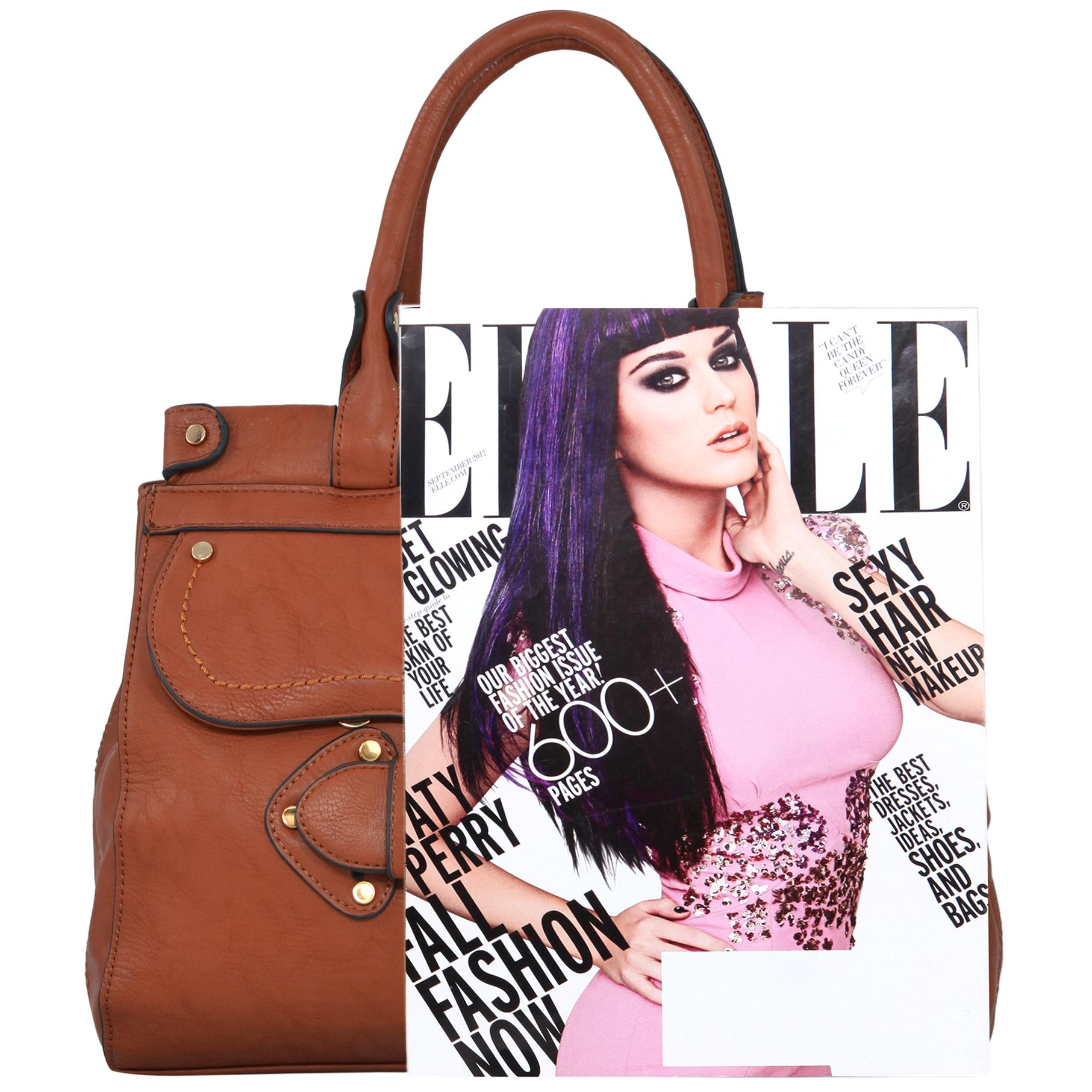 wendy brown satchel style shoulder bag size comparison image