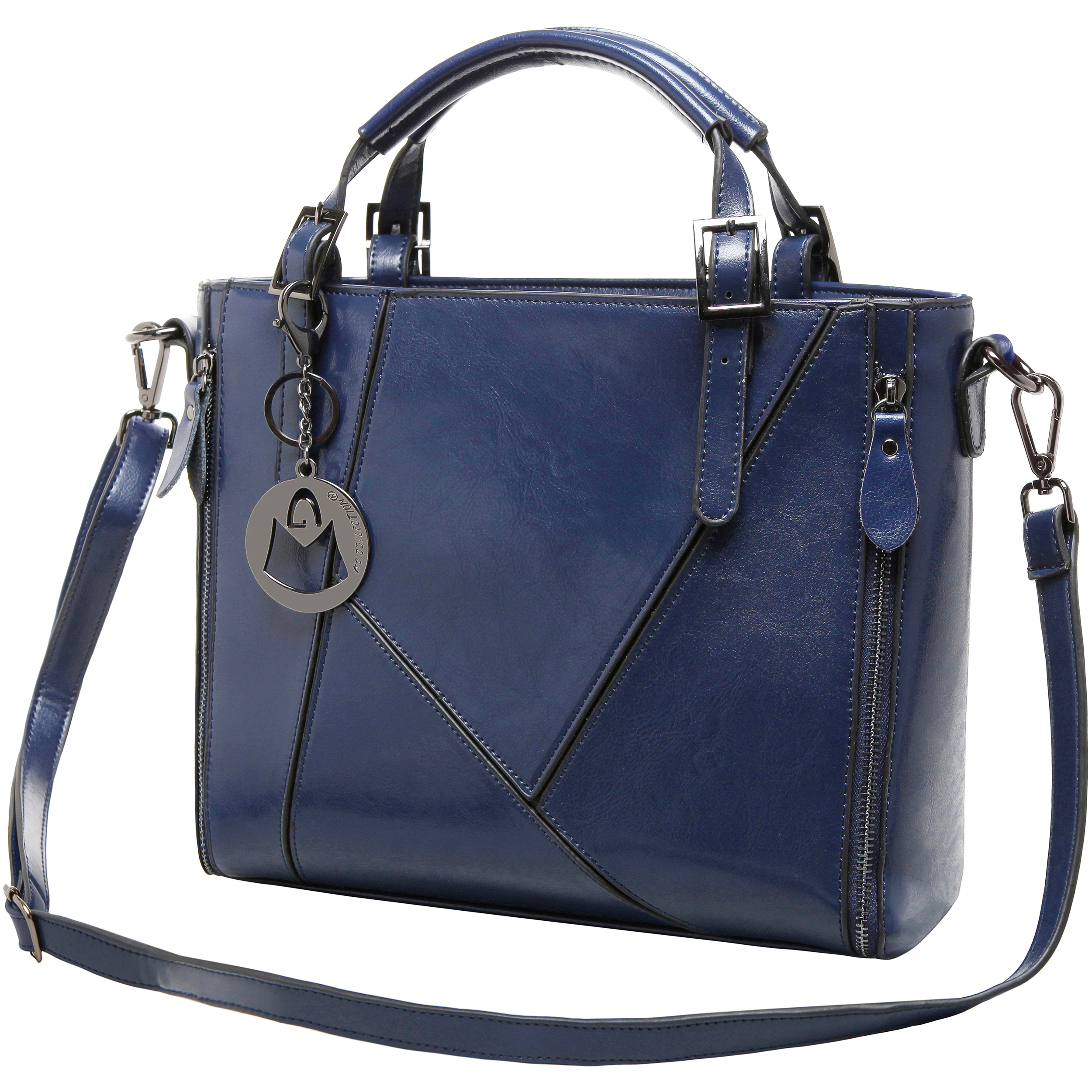 lourdes blue double top handle stitched crossbody tote shoulder strap image