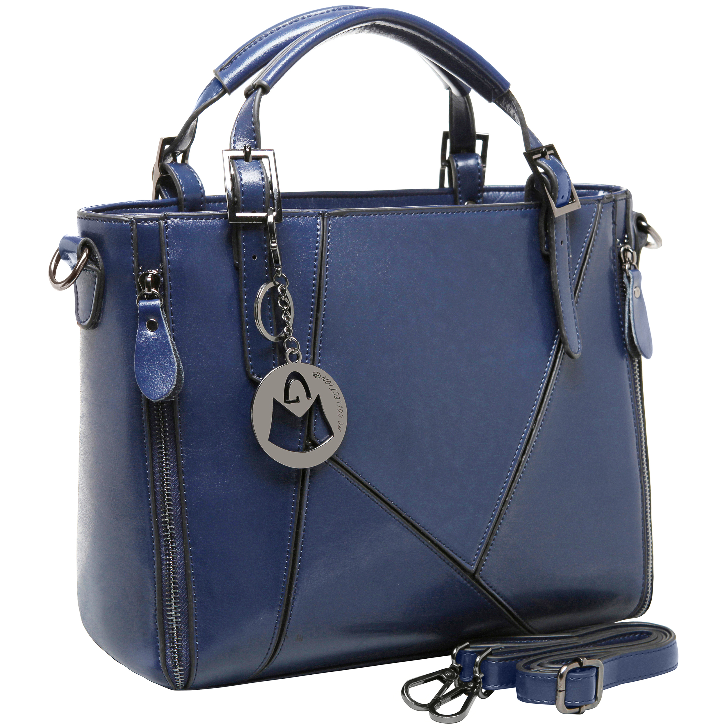 lourdes blue double top handle stitched crossbody tote main image