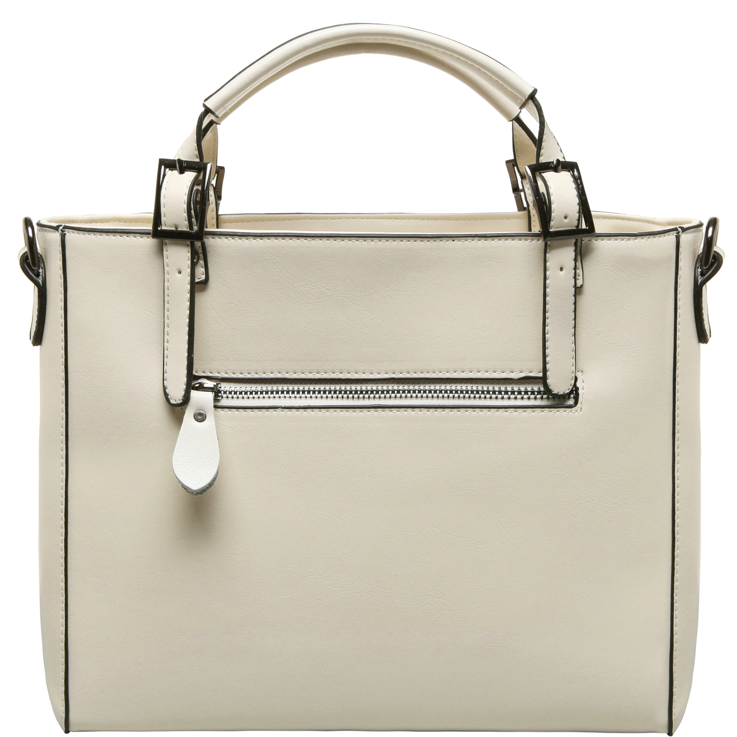 lourdes white double top handle crossbody tote back image