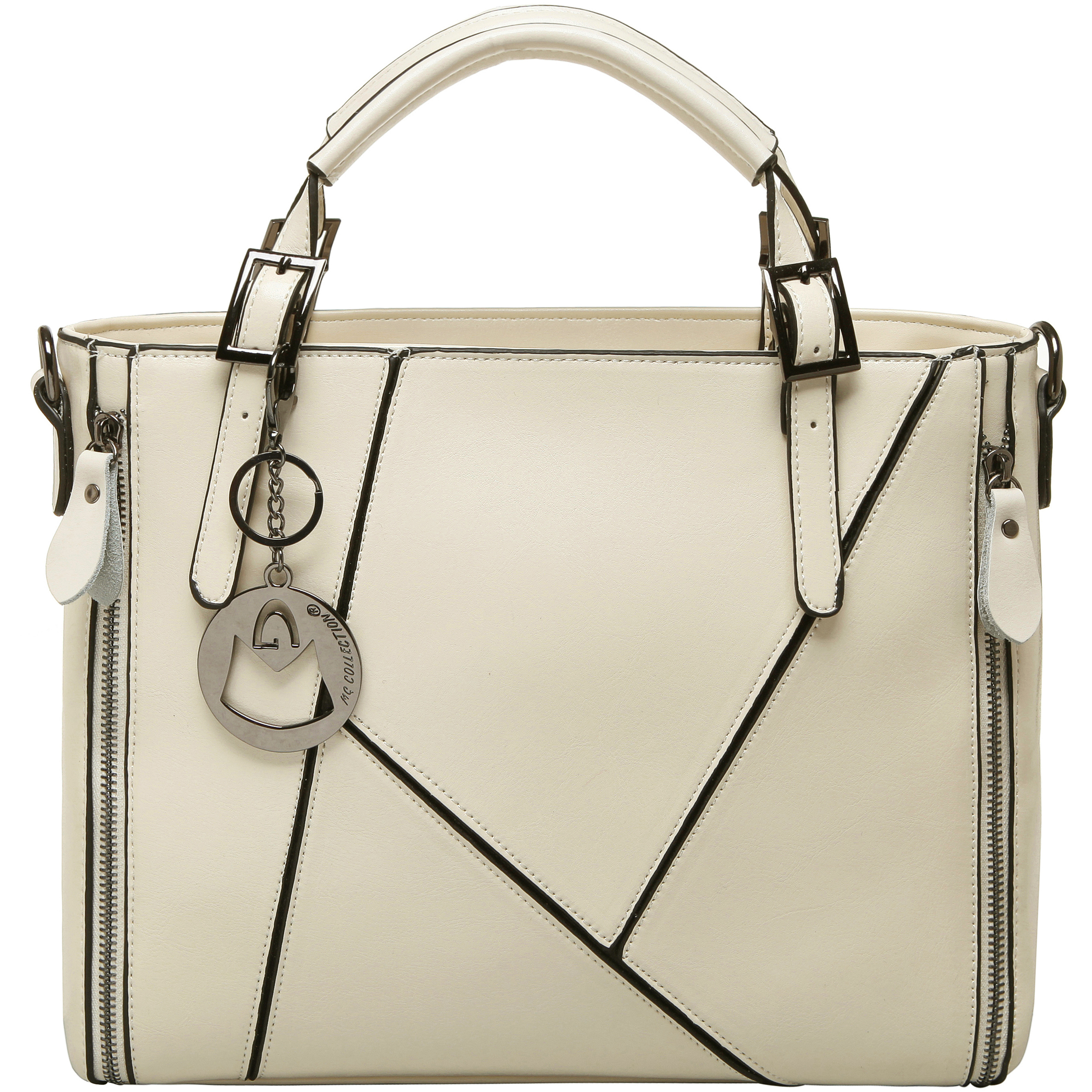 lourdes white double top handle crossbody tote front image