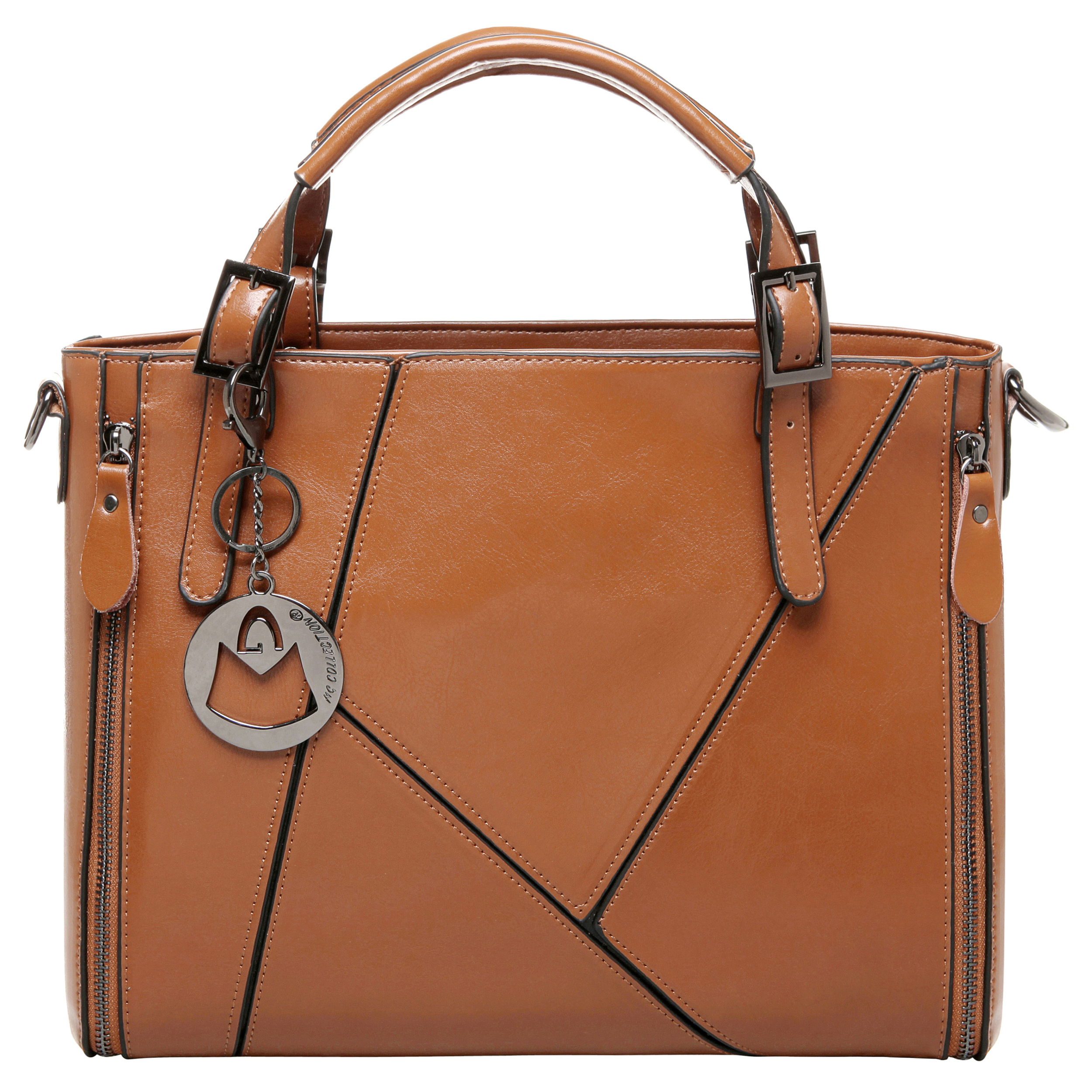 lourdes brown double top handle crossbody tote front image