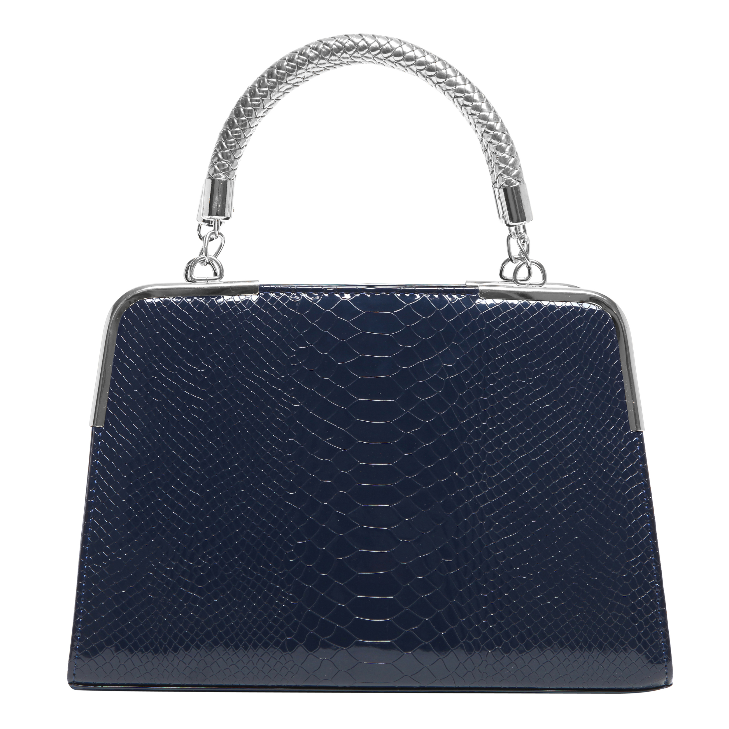 Matana navy blue crocodile print high gloss tote front image