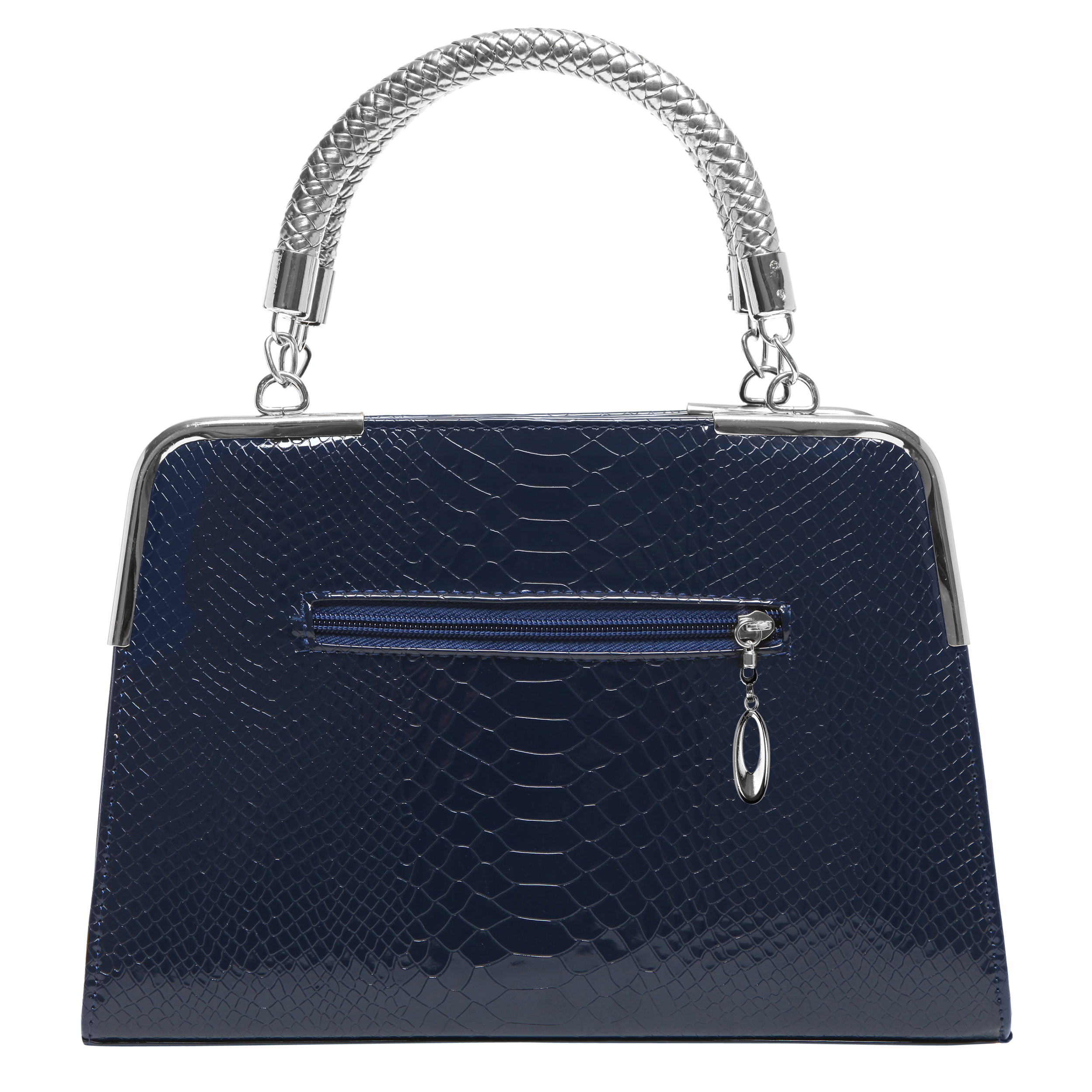 Matana navy blue crocodile print high gloss tote back image
