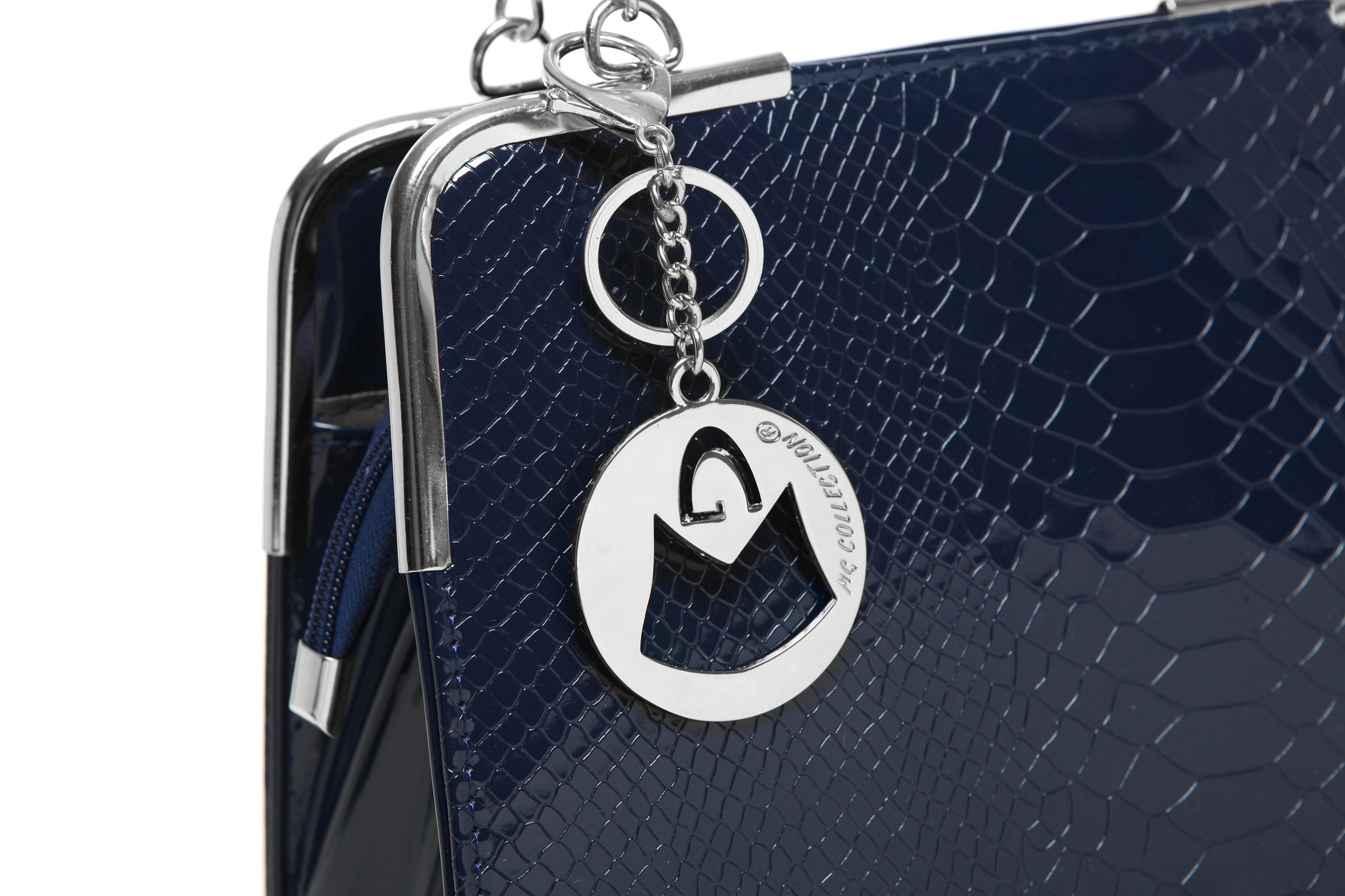 Matana navy blue crocodile print high gloss tote closeup image