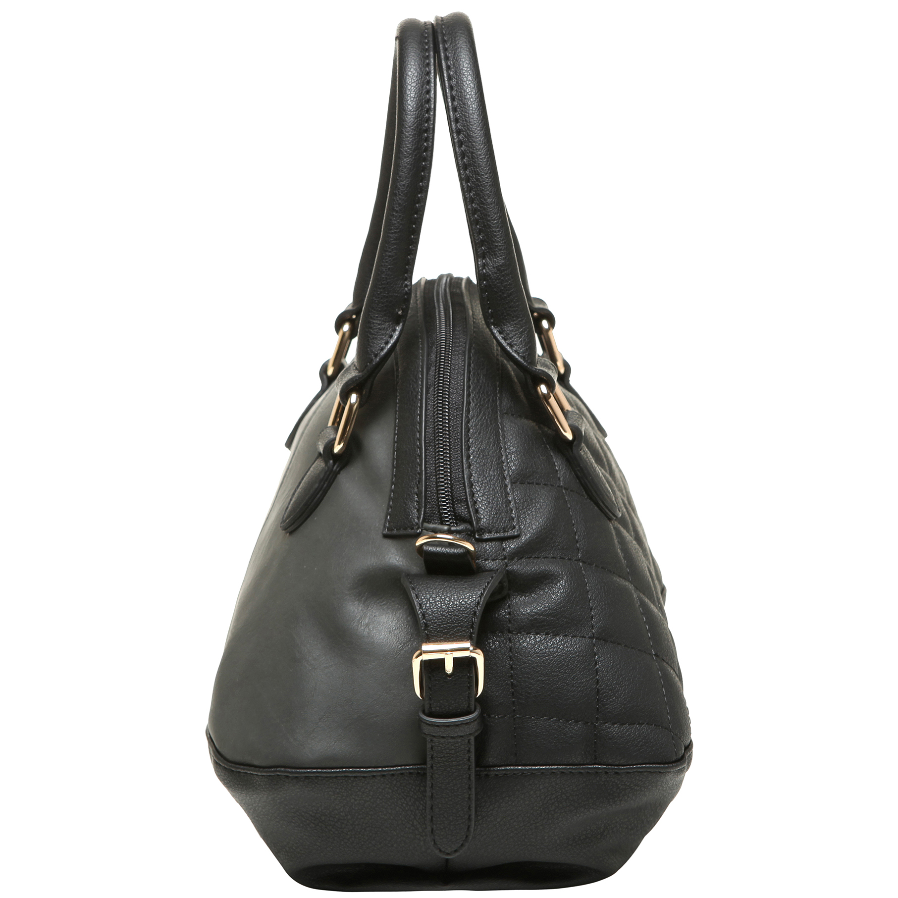 imani black bowler style small quilted tote purse side image