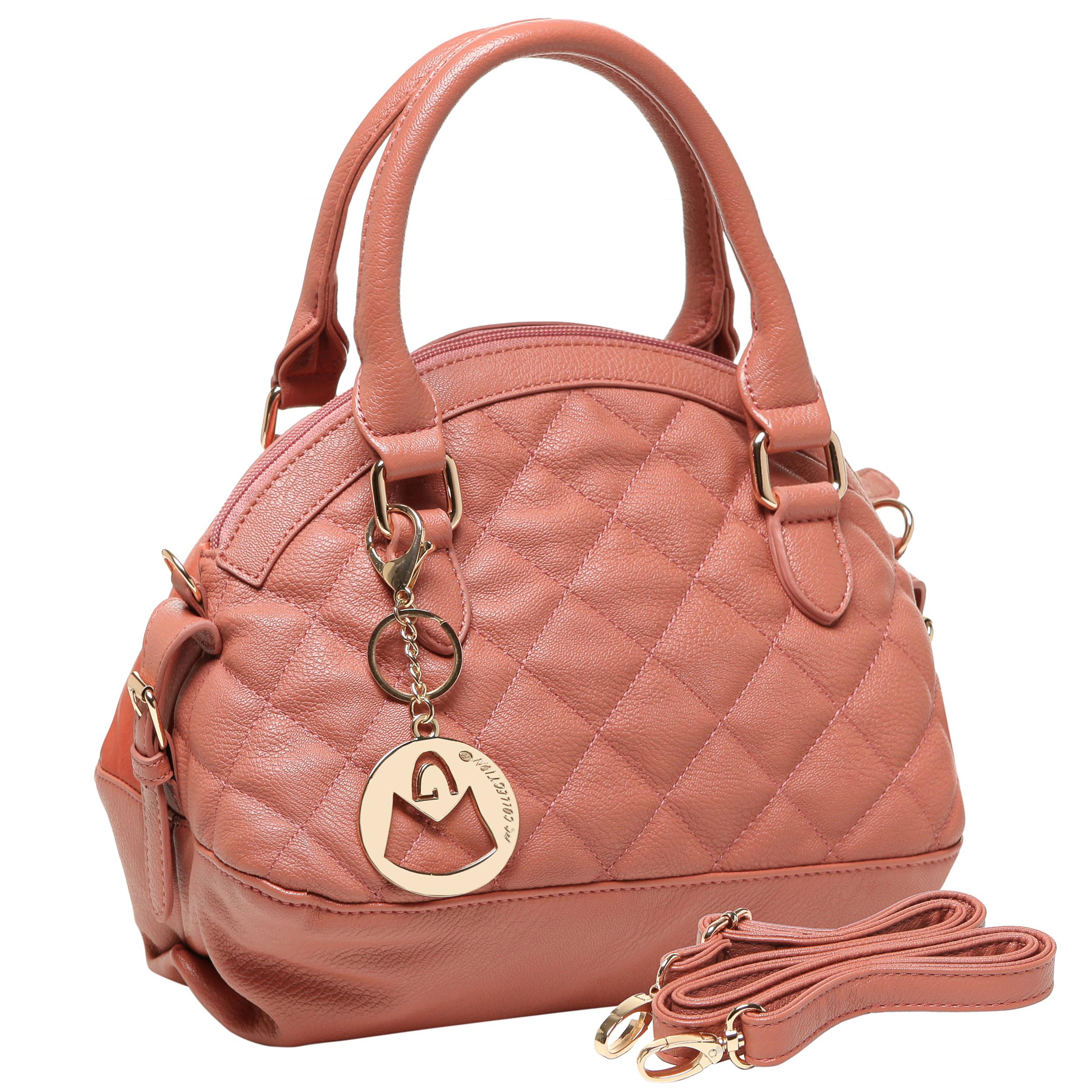 Imani pink quilted bowler designer handbag main image