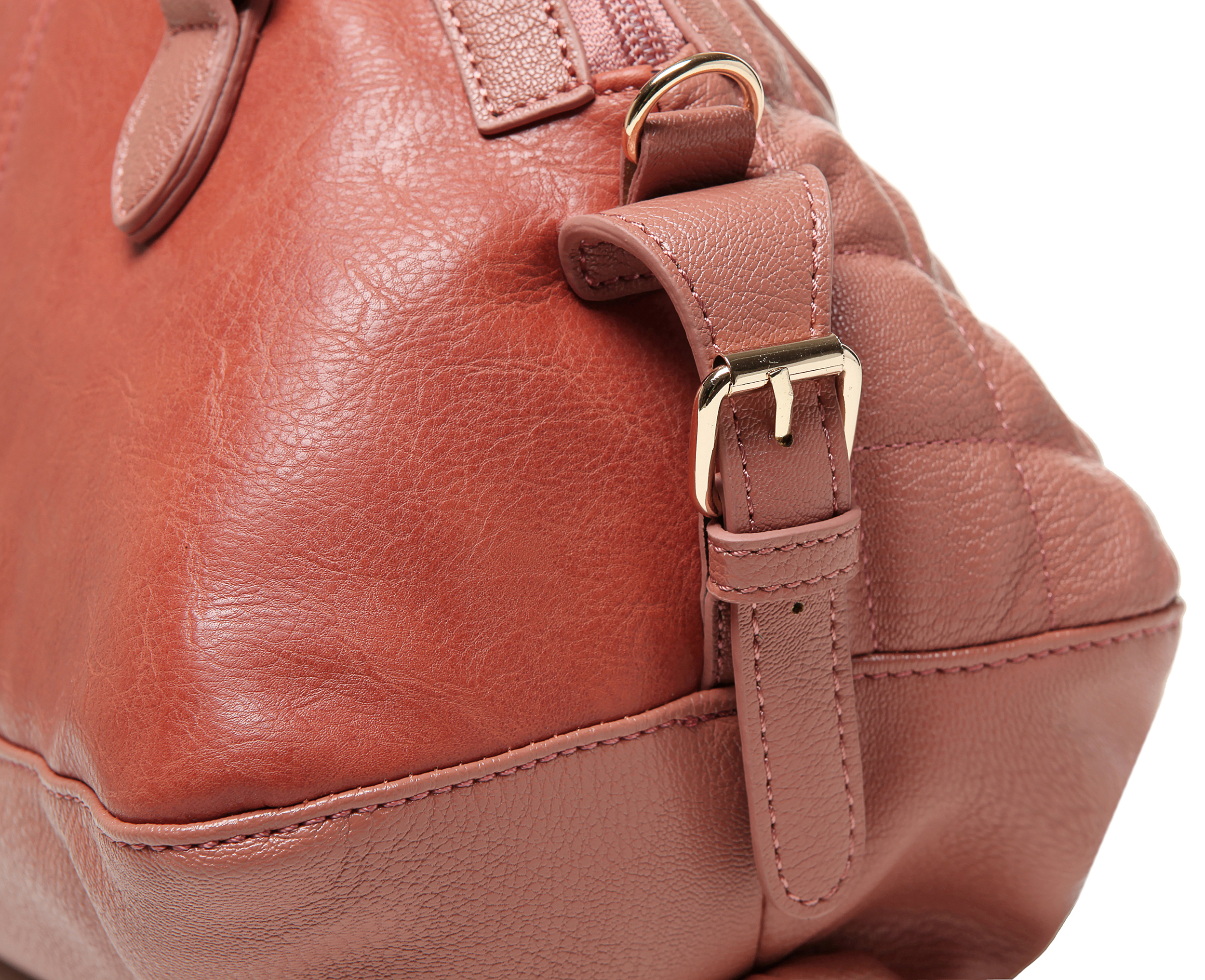 Imani pink quilted bowler designer handbag closeup image