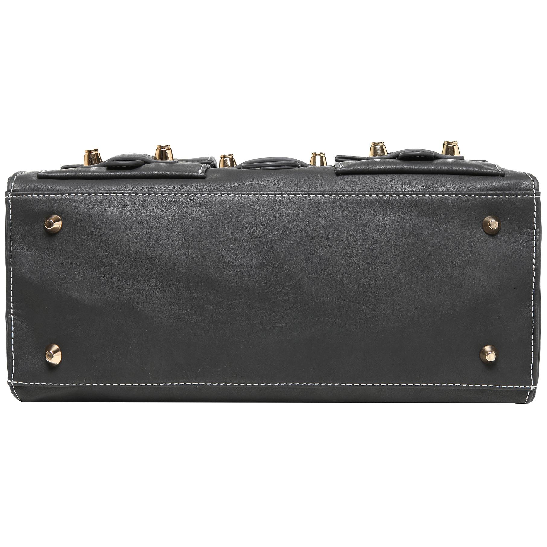 Anna Onyx Black satchel style womens designer handbag bottom image
