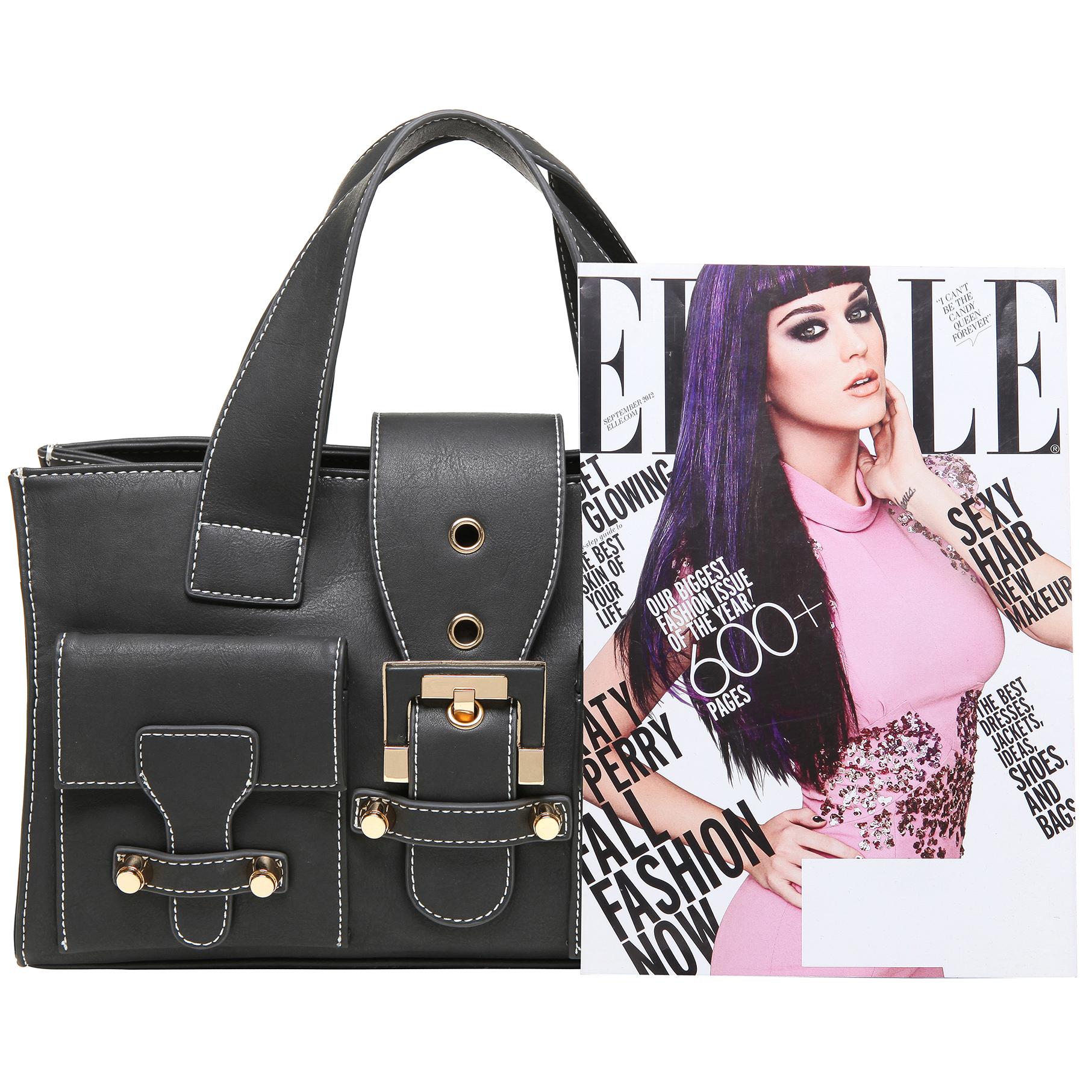 Anna Onyx Black satchel style womens designer handbag size comparison image