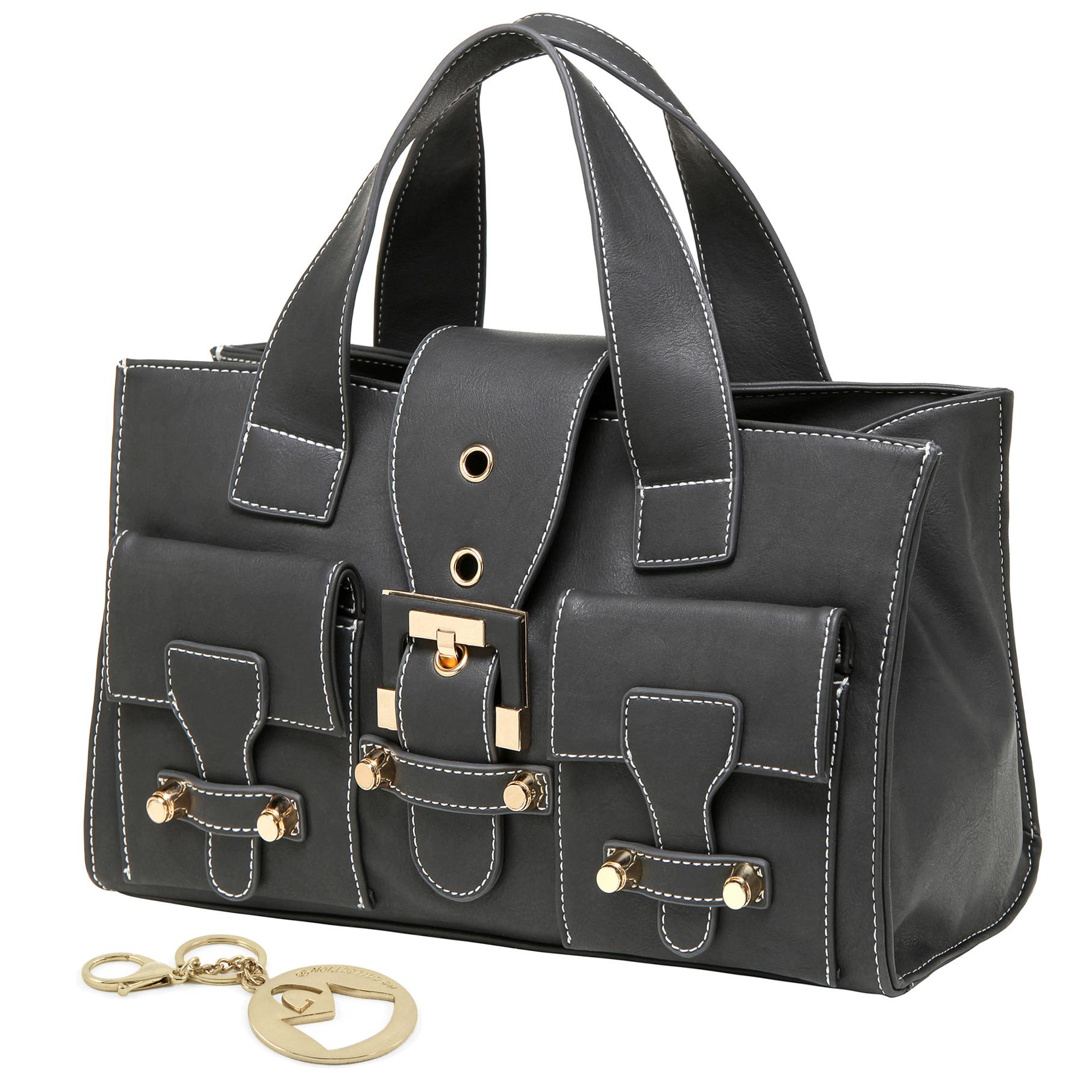 Anna Onyx Black satchel style womens designer handbag main image