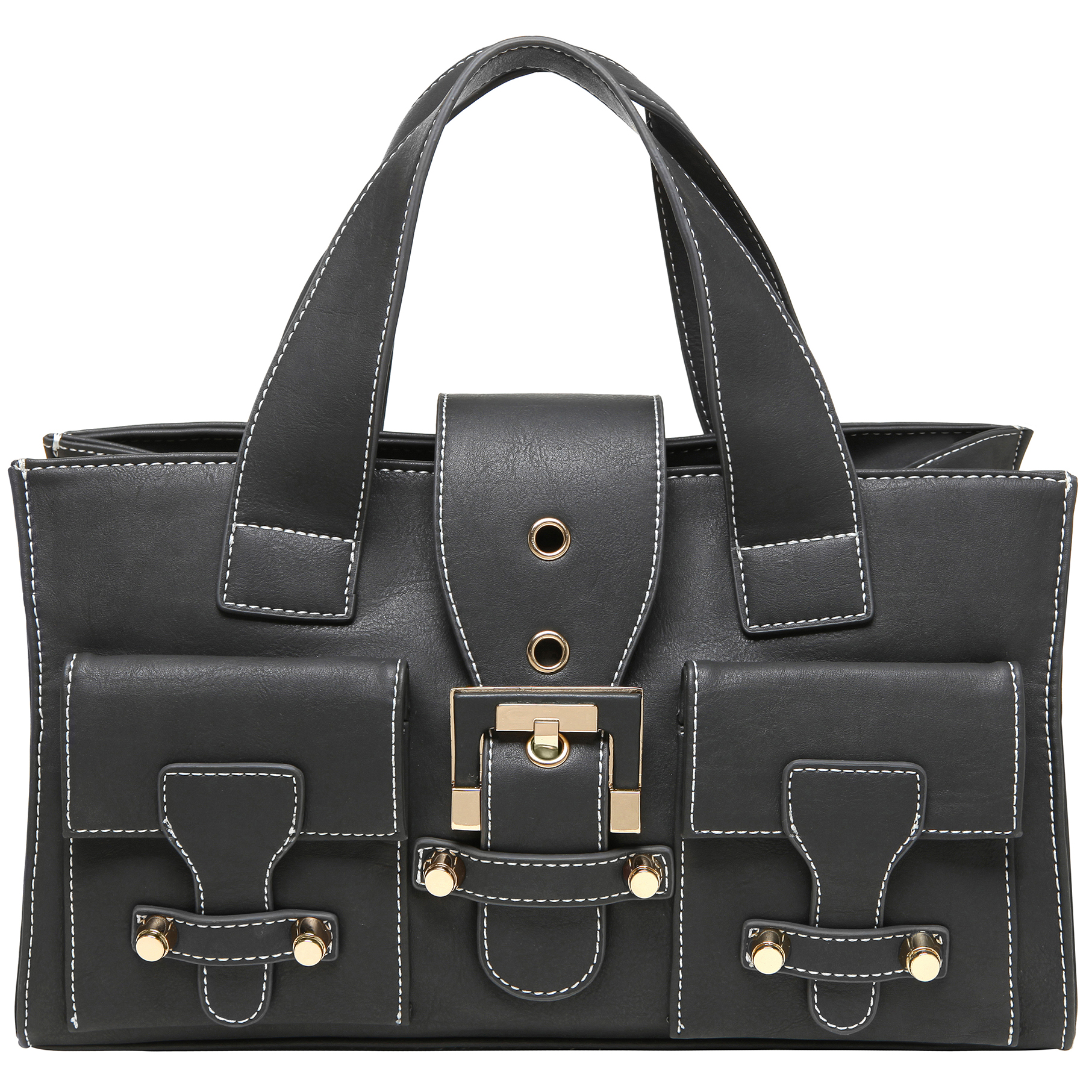 Anna Onyx Black satchel style womens designer handbag front image