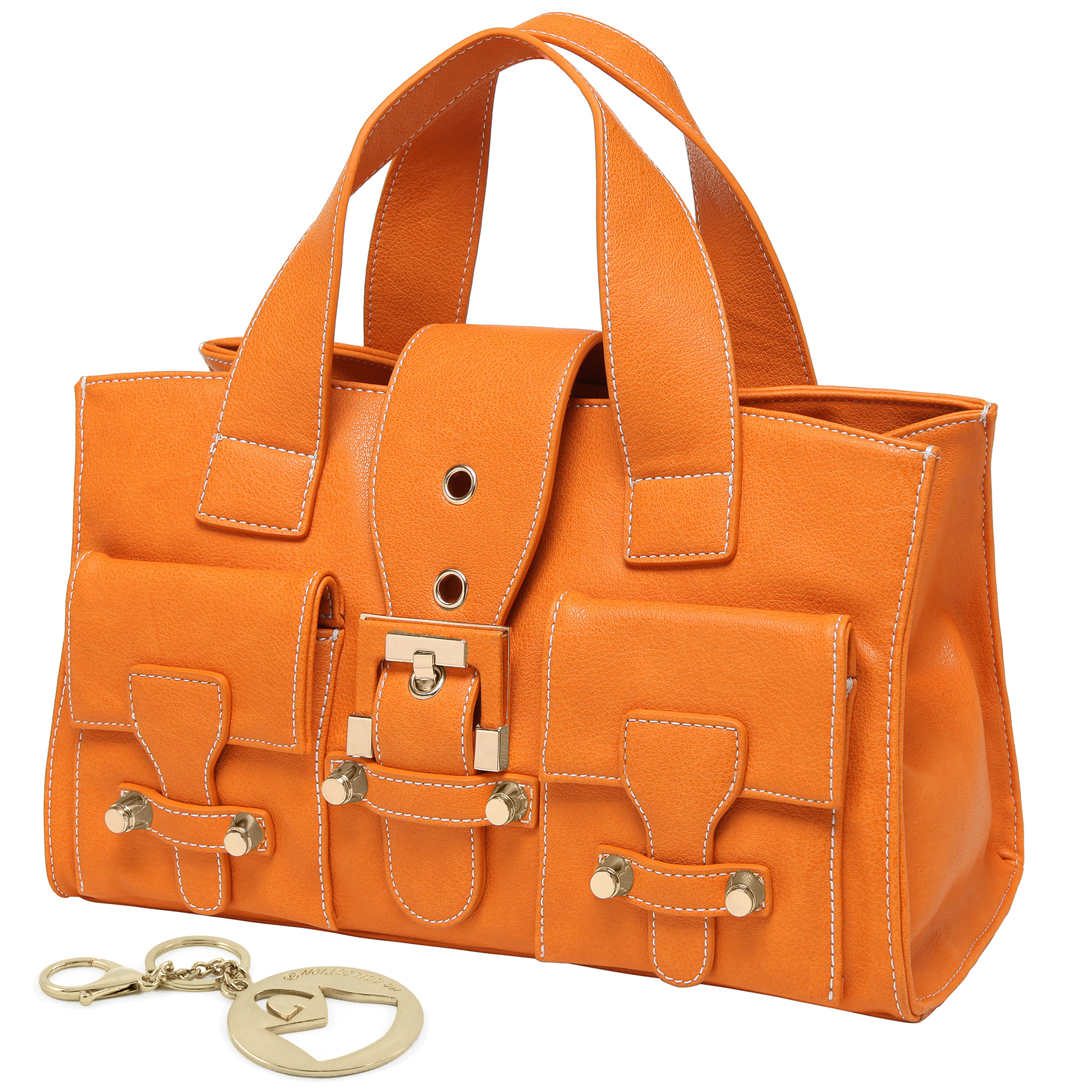 Anna Amber Orange satchel style womens designer handbag main image
