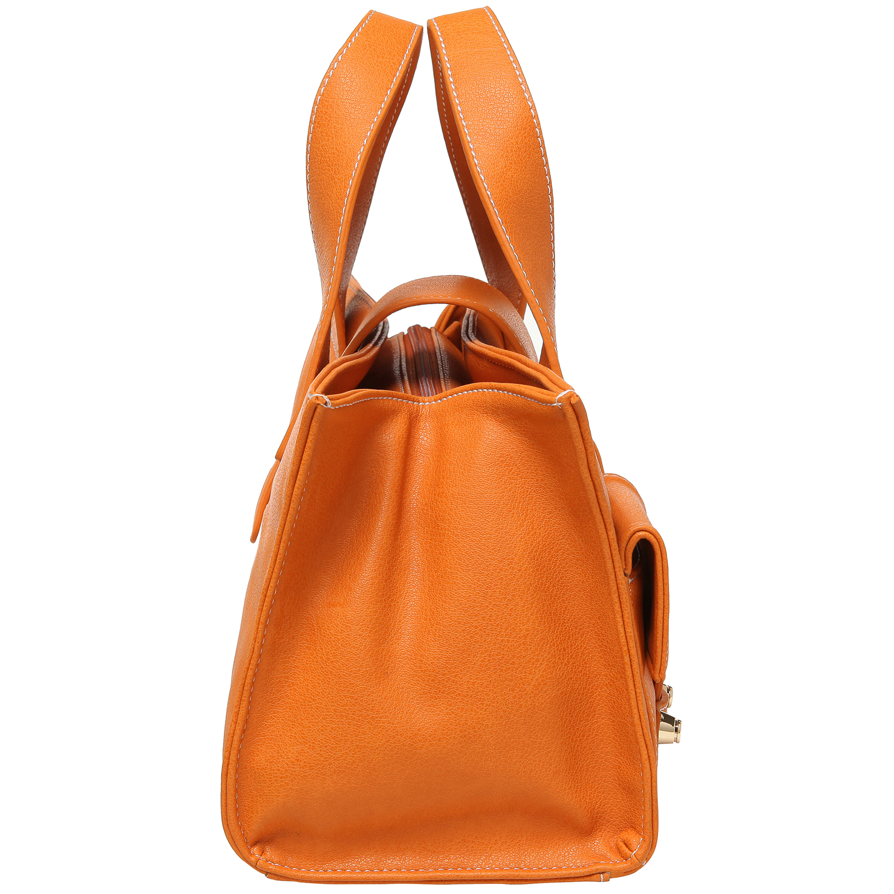 Anna Amber Orange satchel style womens designer handbag side image