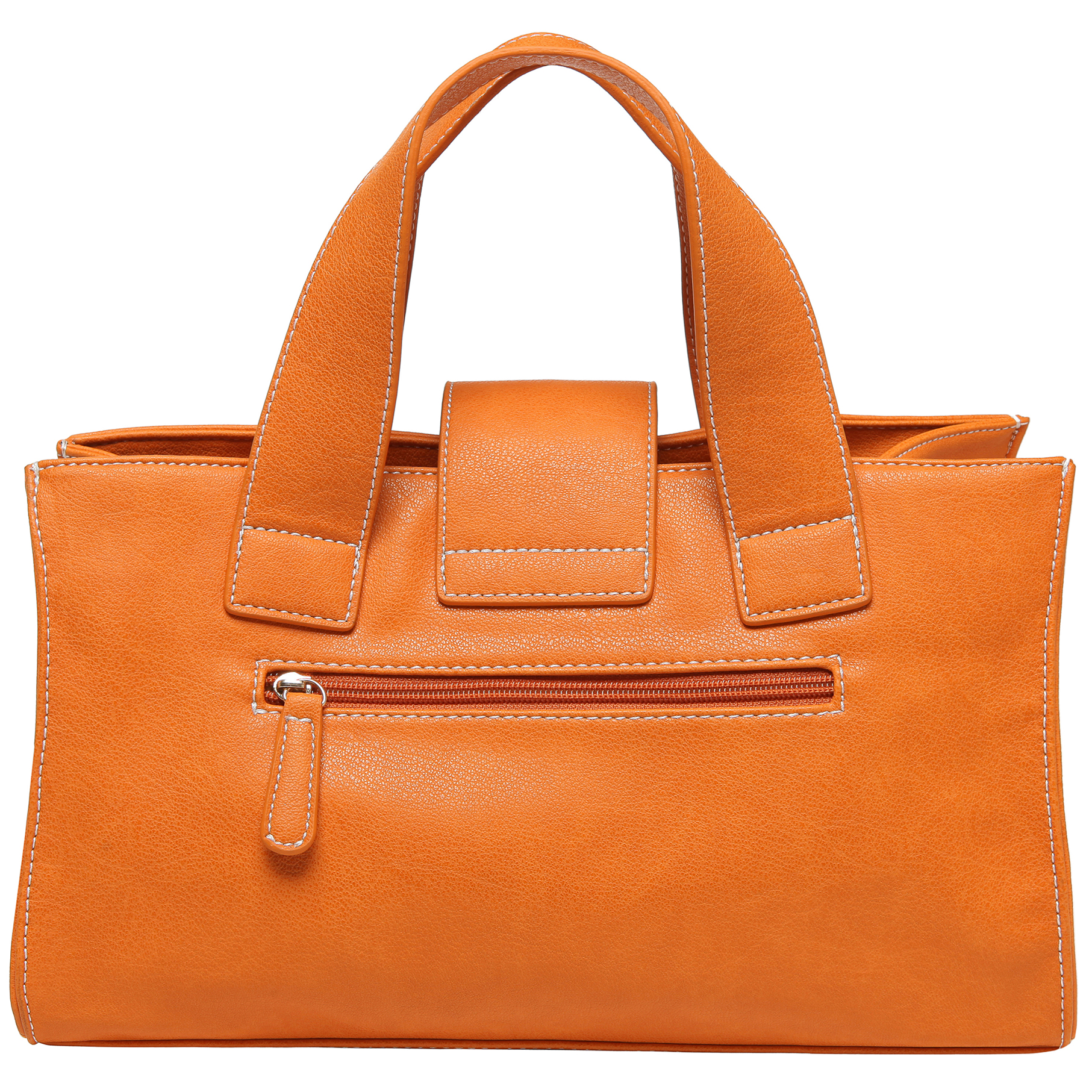 Anna Amber Orange satchel style womens designer handbag back image