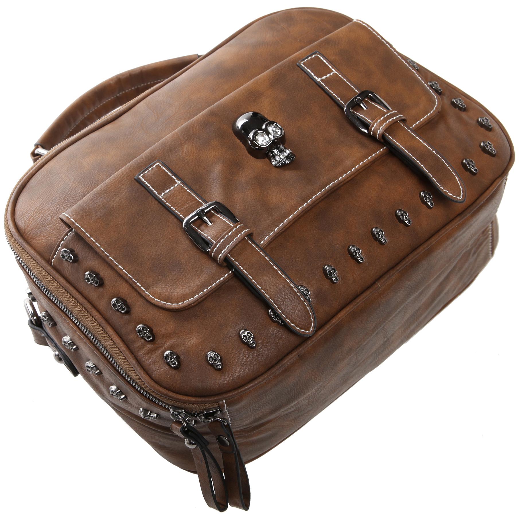 Women's Designer Handbag MASON in Brown Gothic Style Satchel laying flat image