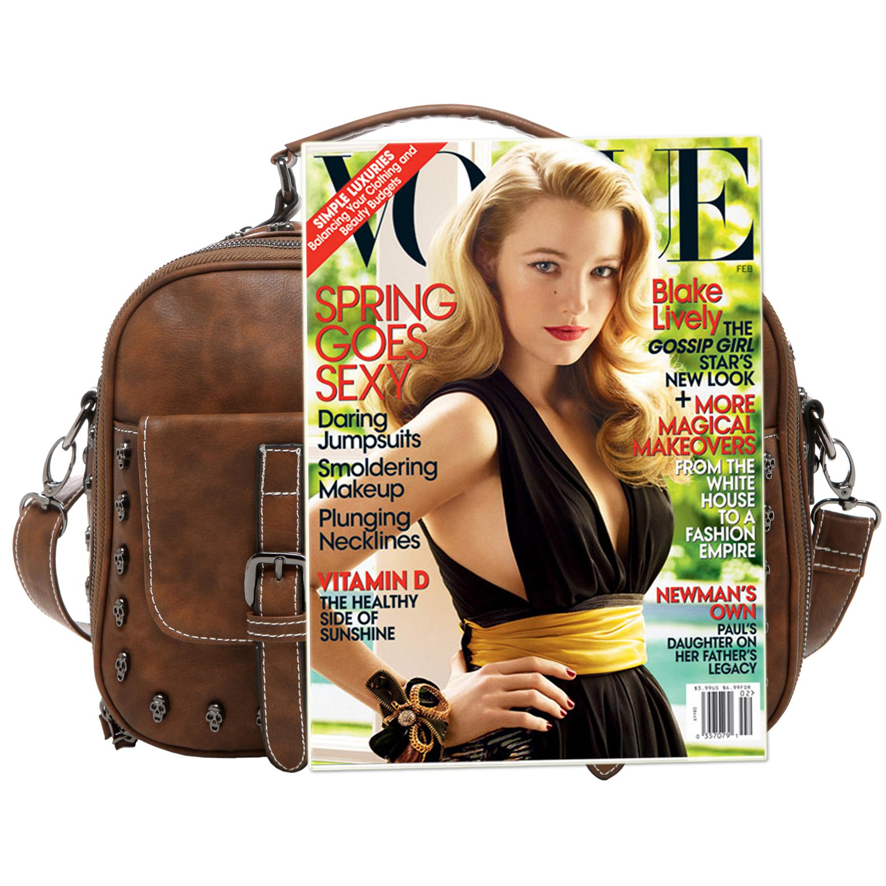 Women's Designer Handbag MASON in Brown Gothic Style Satchel size comparison image
