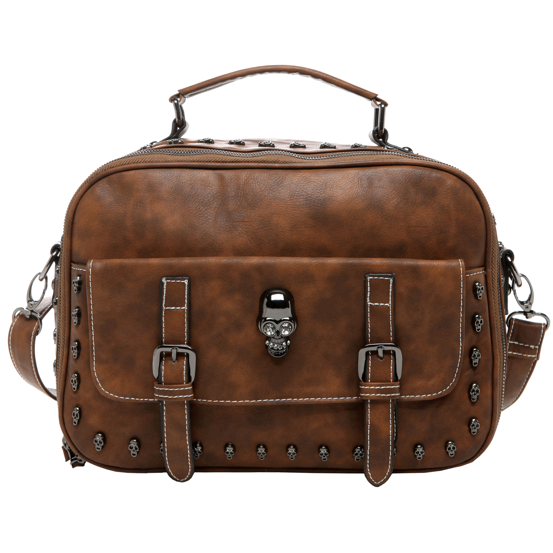 Women's Designer Handbag MASON in Brown Gothic Style Satchel front image