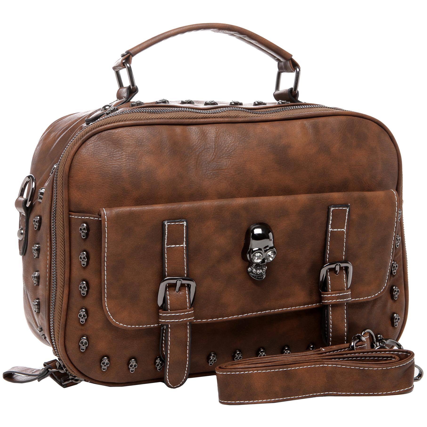Women's Designer Handbag MASON in Brown Gothic Style Satchel angled image