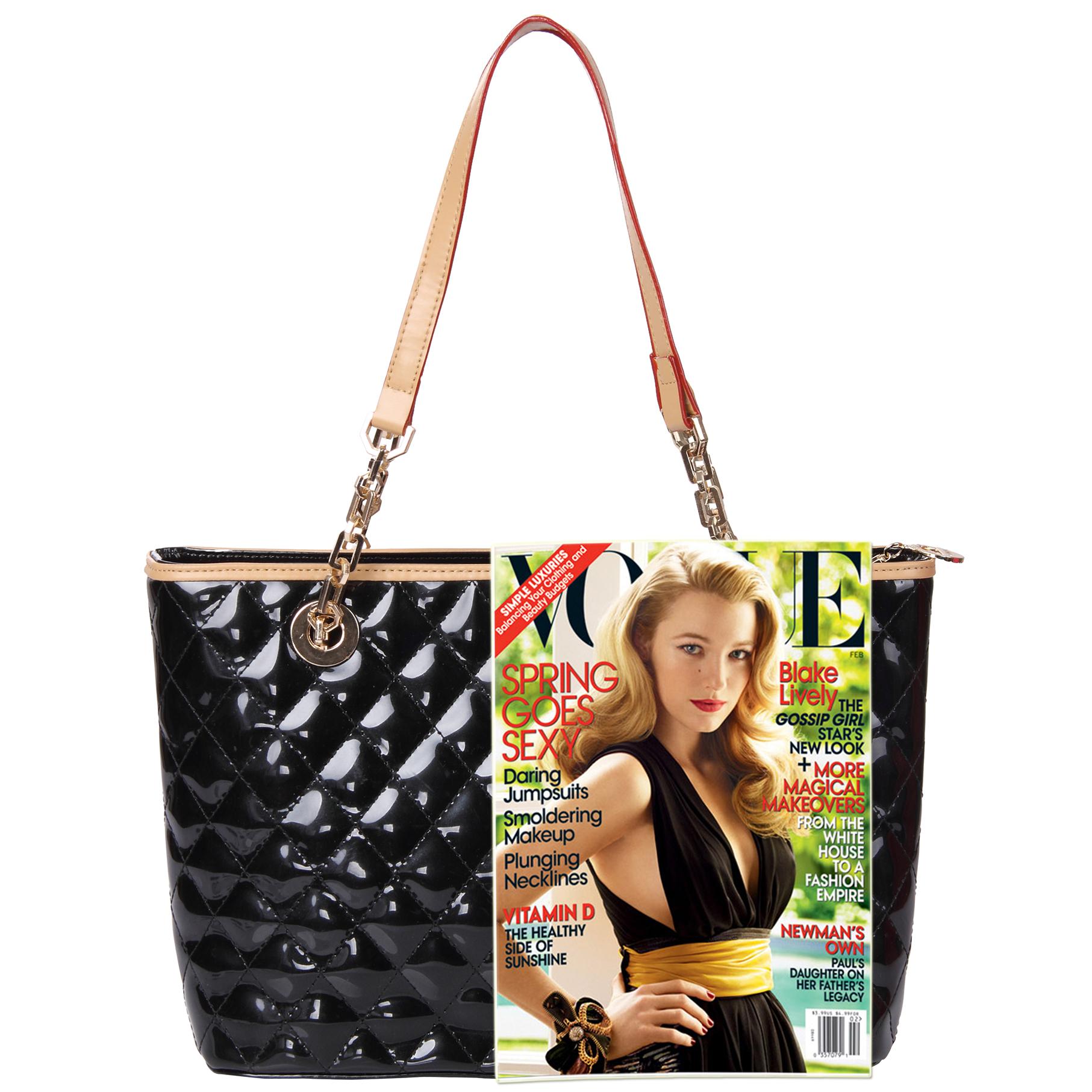 leryn black quilted patent leather designer shoulder bag tote size comparison image