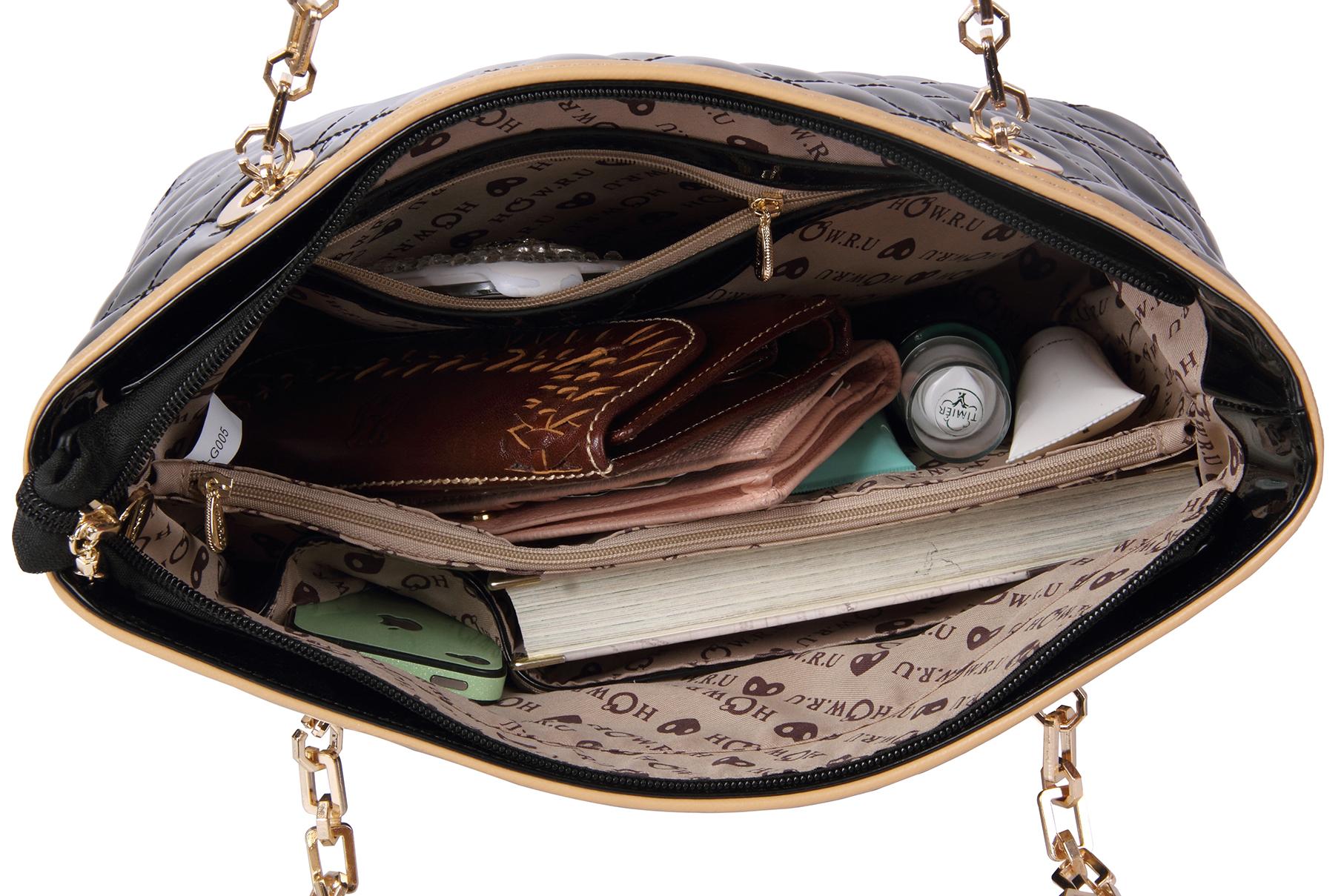 leryn black quilted patent leather designer shoulder bag tote interior image
