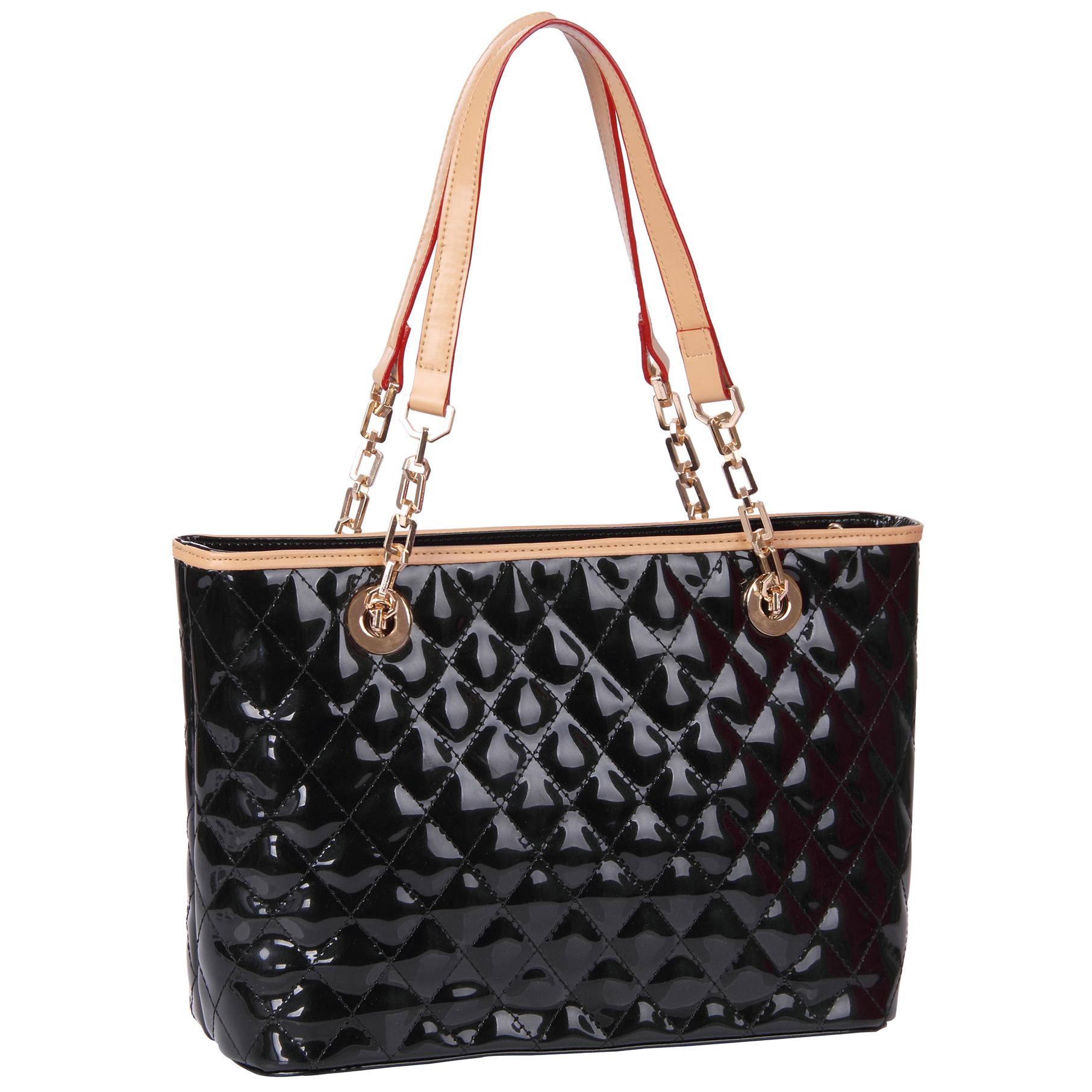 leryn black quilted patent leather designer shoulder bag tote main handbag image