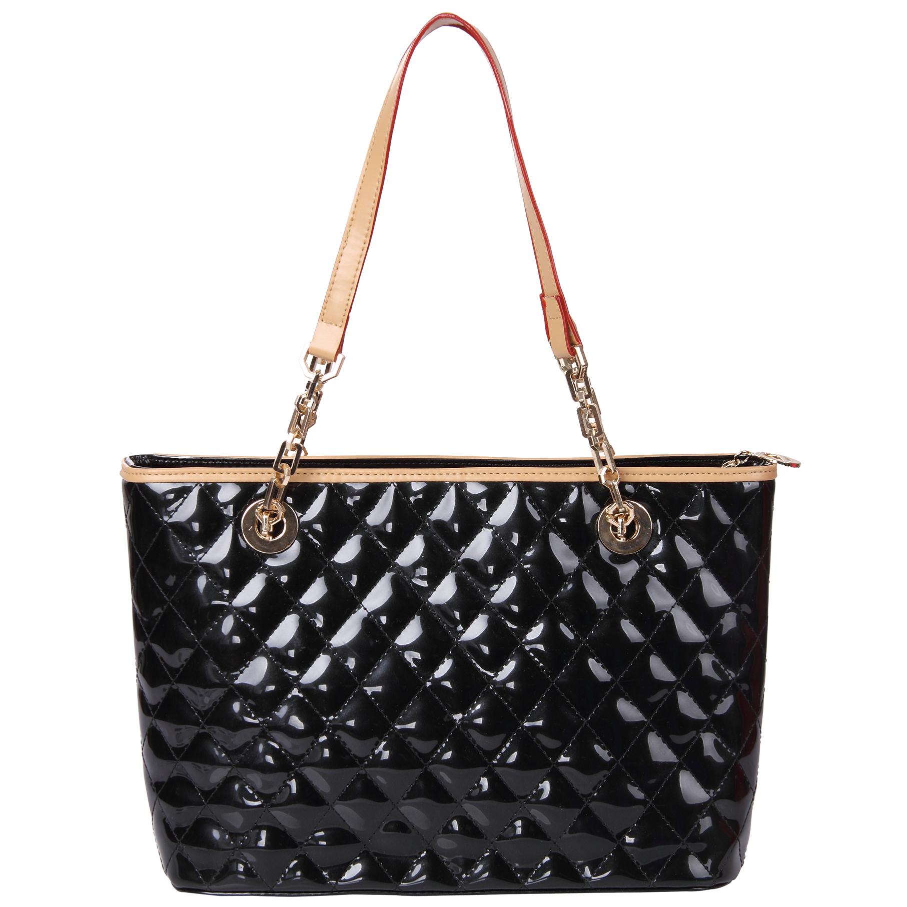leryn black quilted patent leather designer shoulder bag tote front image